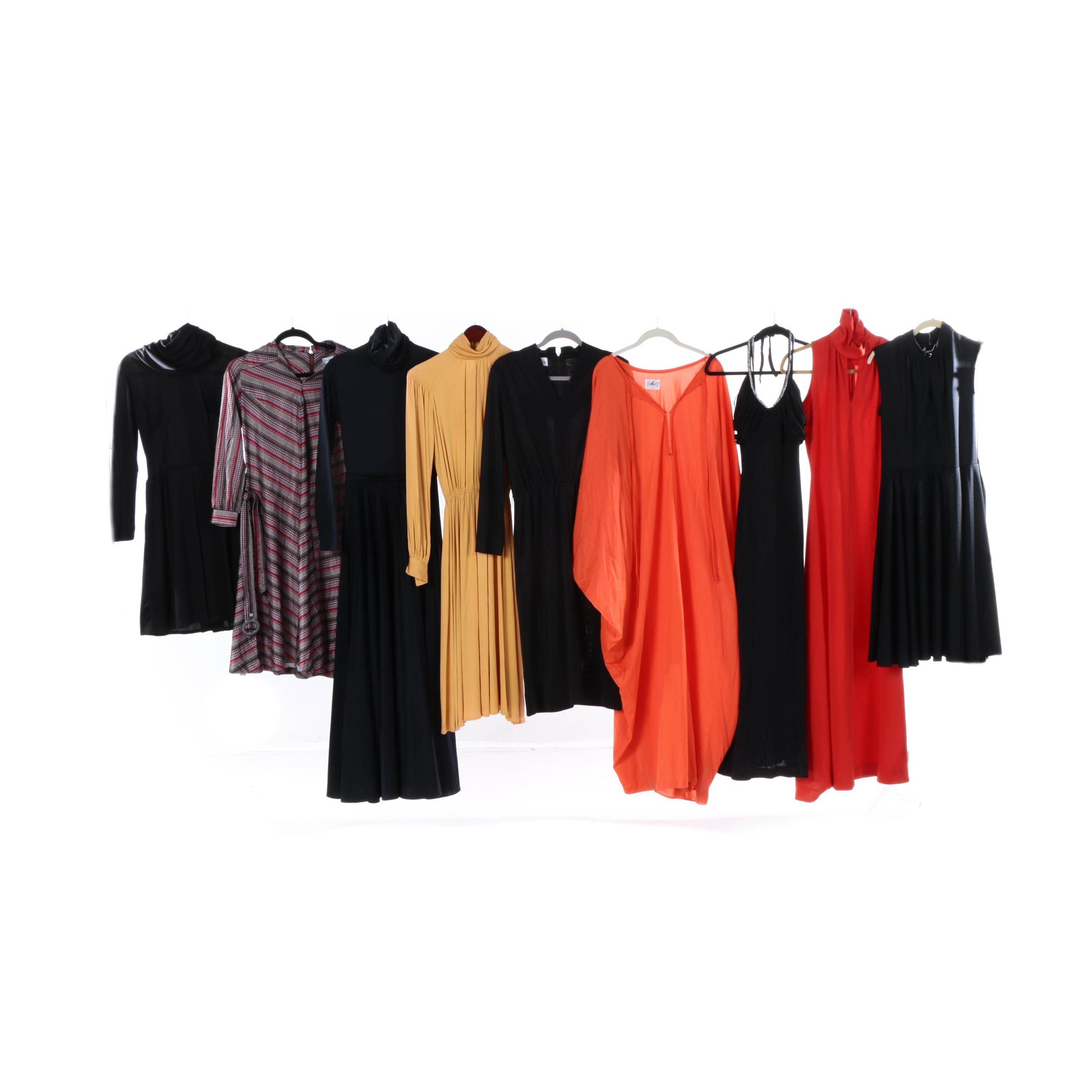 1970s Vintage Knit Maxi and Midi Dresses Including Scott Barrie and Sakowitz