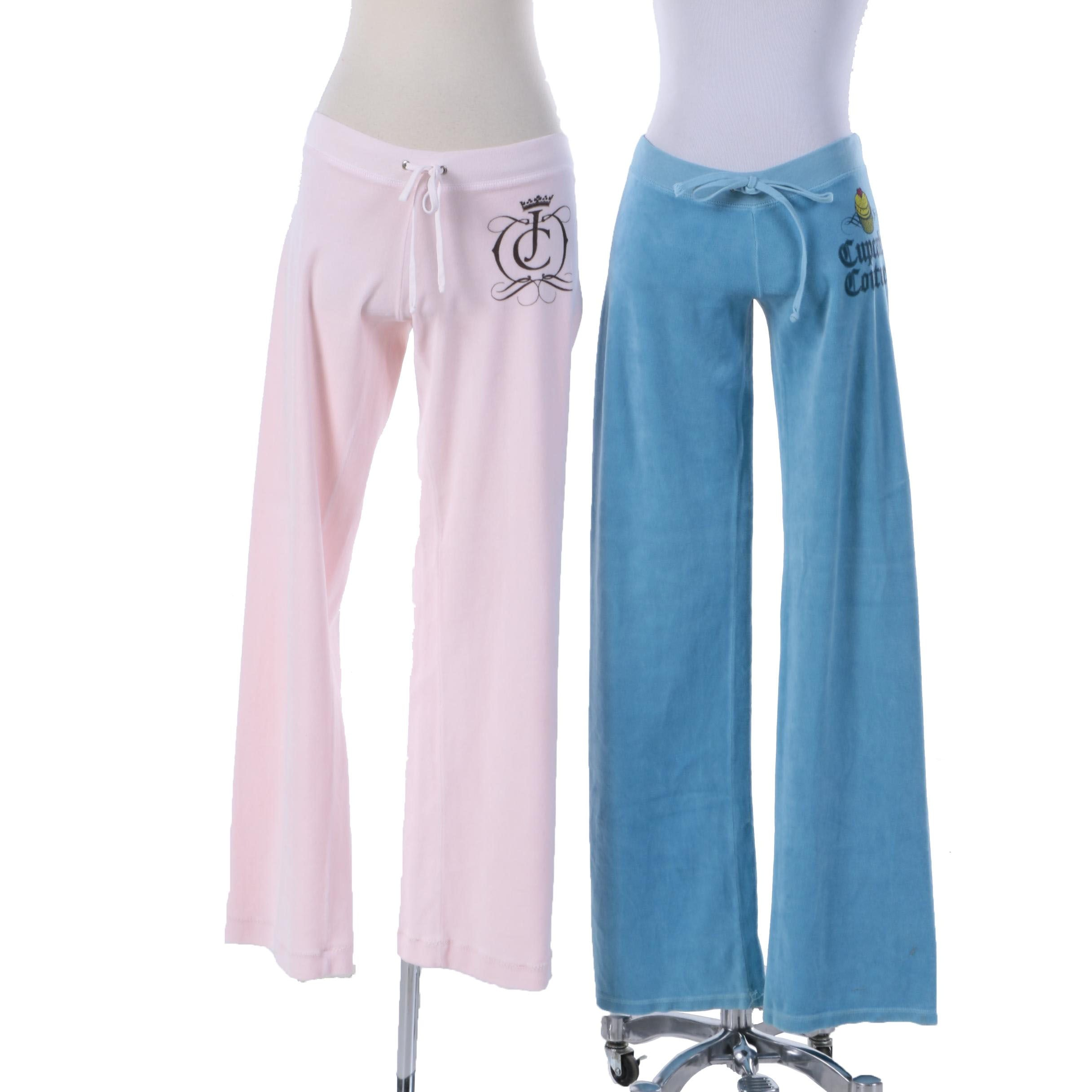 Women's Juicy Couture Pink and Blue Velour Joggers