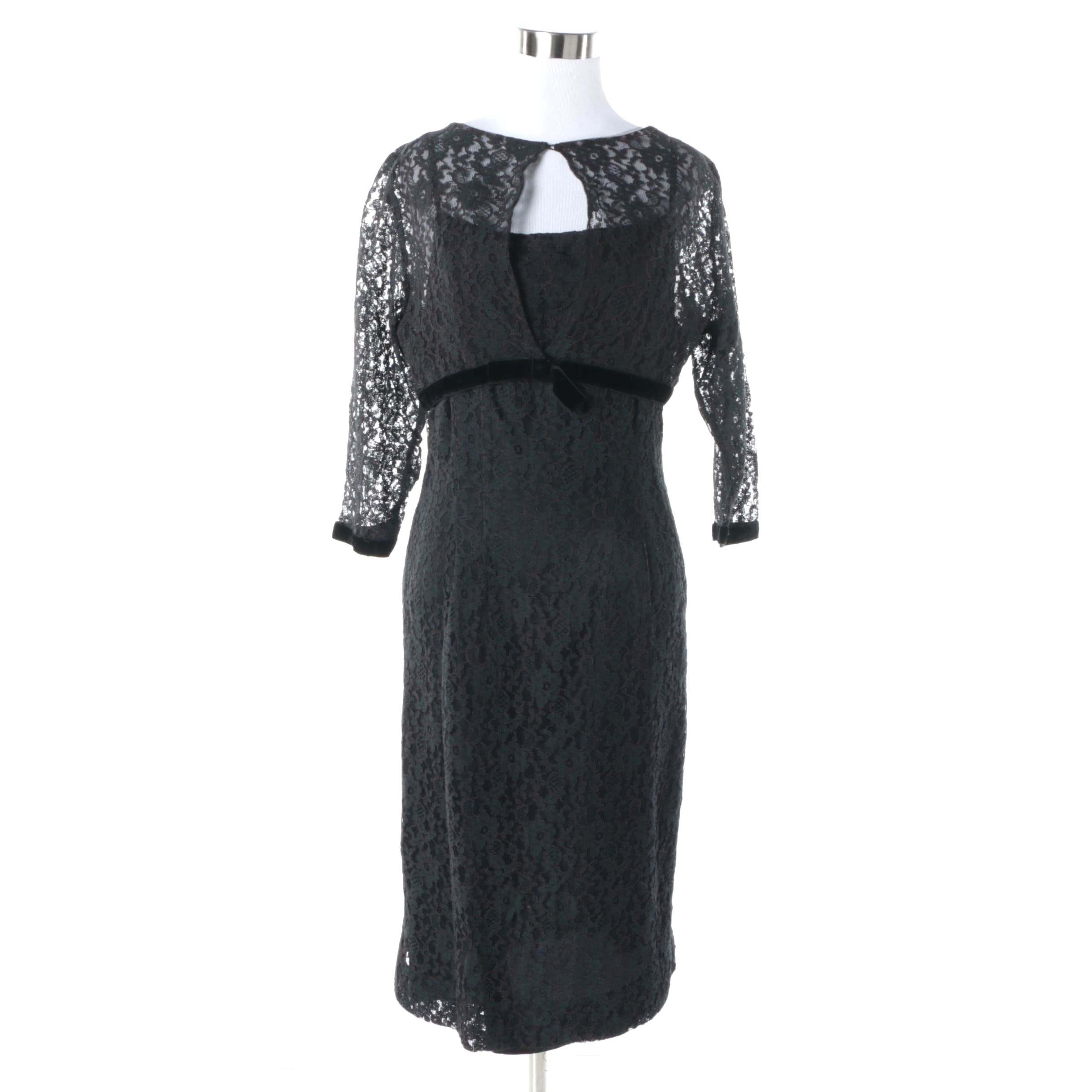 Circa 1950s Vintage Black Lace and Velvet Sheath Dress with Bolero