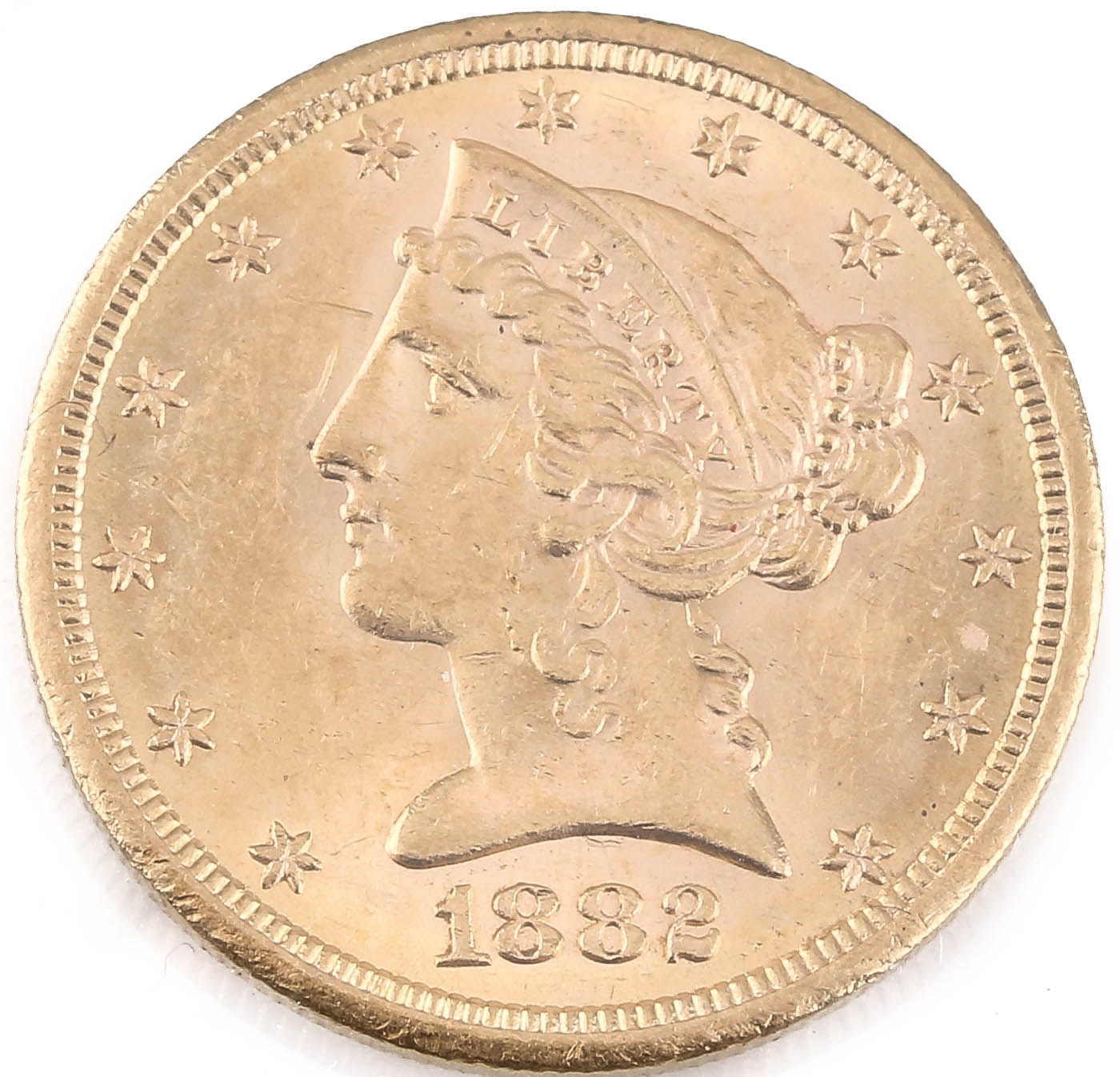 1882-S Liberty Head $5 Gold Coin