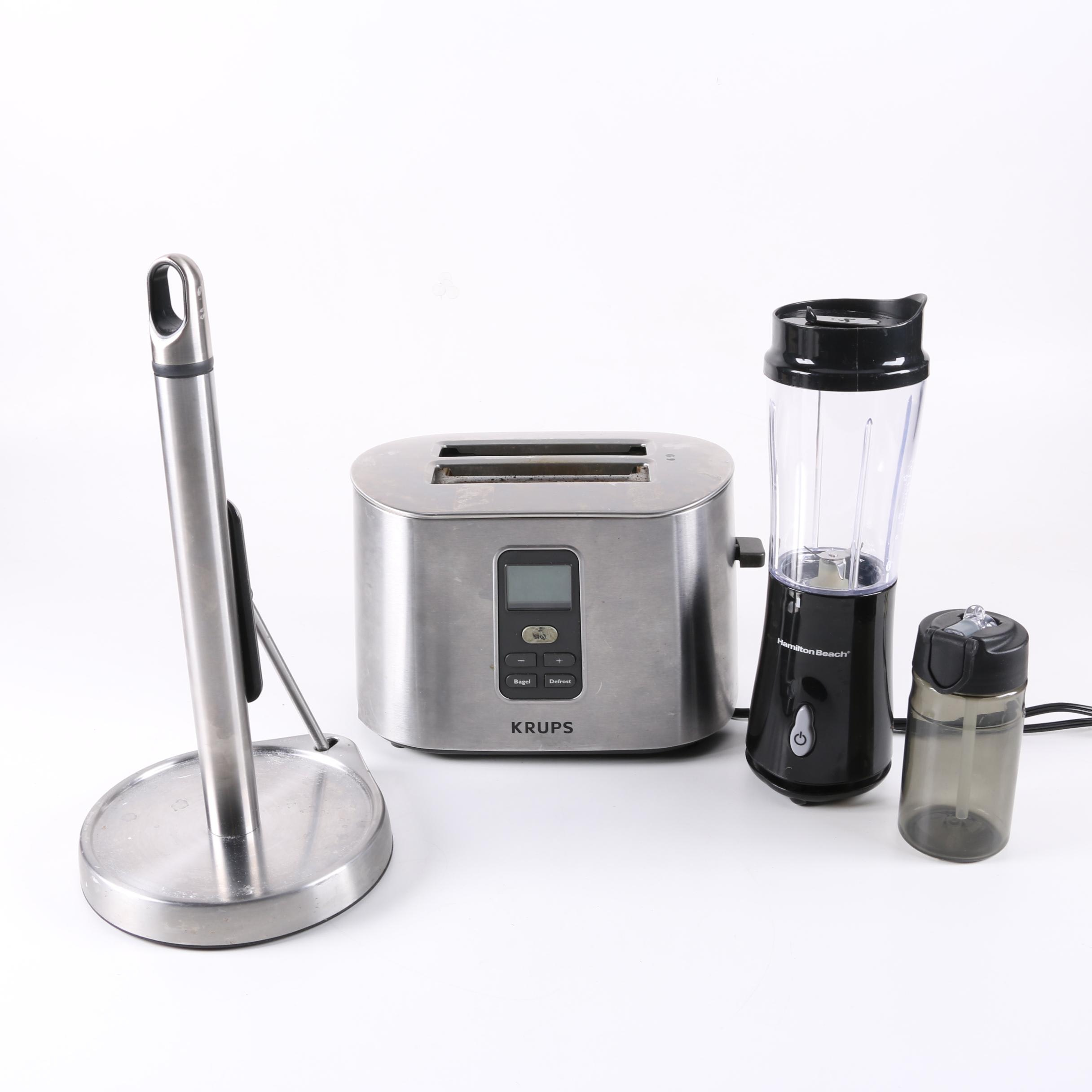 Krups Bagel Toaster, Hamilton Beach Blender and Paper Towel Holder