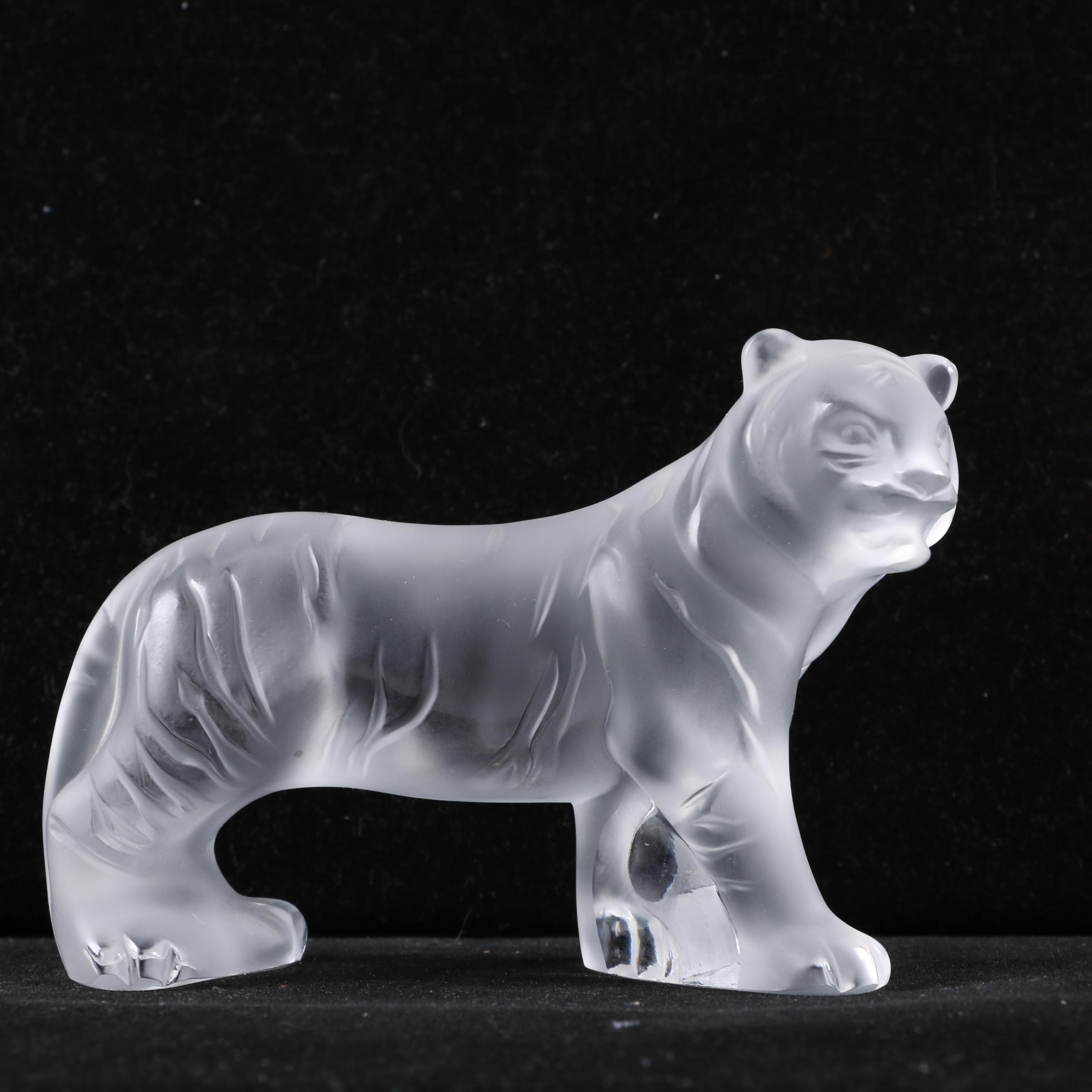 """Retired Lalique Frosted Crystal """"Bengal Tiger"""" Figurine"""