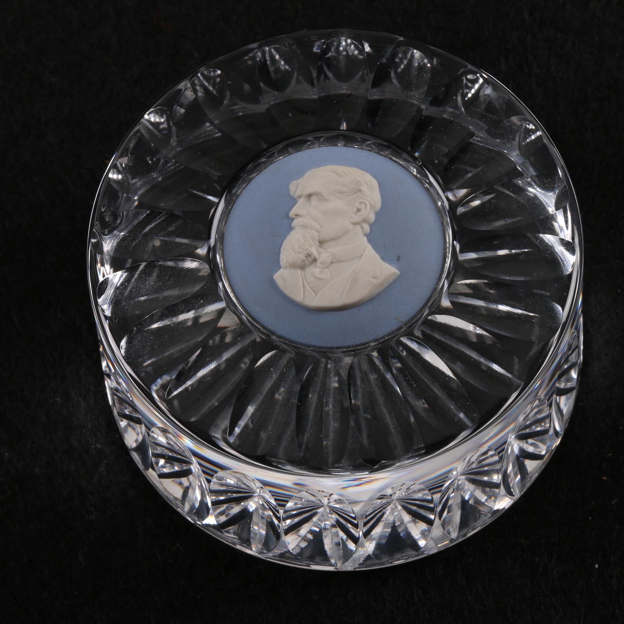 """Wedgwood """"Dickens"""" Crystal and Jasperware Paperweight"""