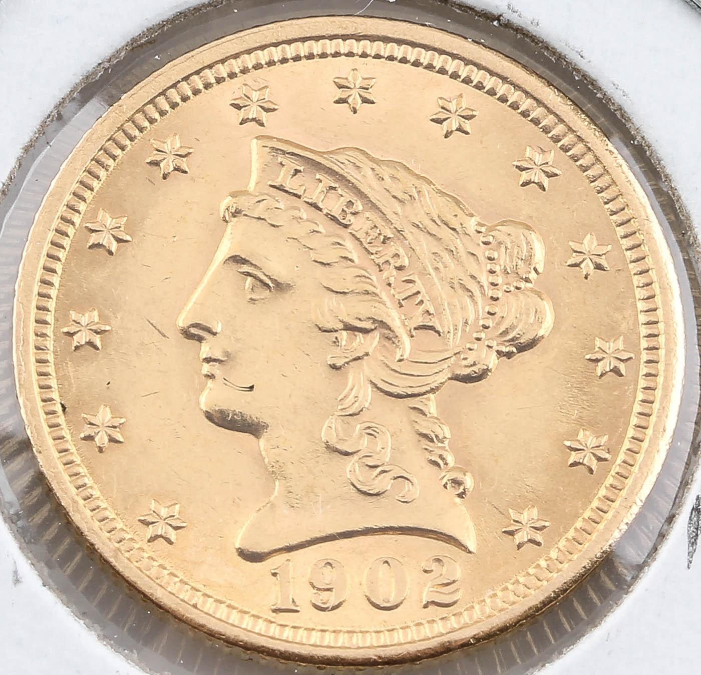 1902 Liberty Head $2 1/2 Gold Coin