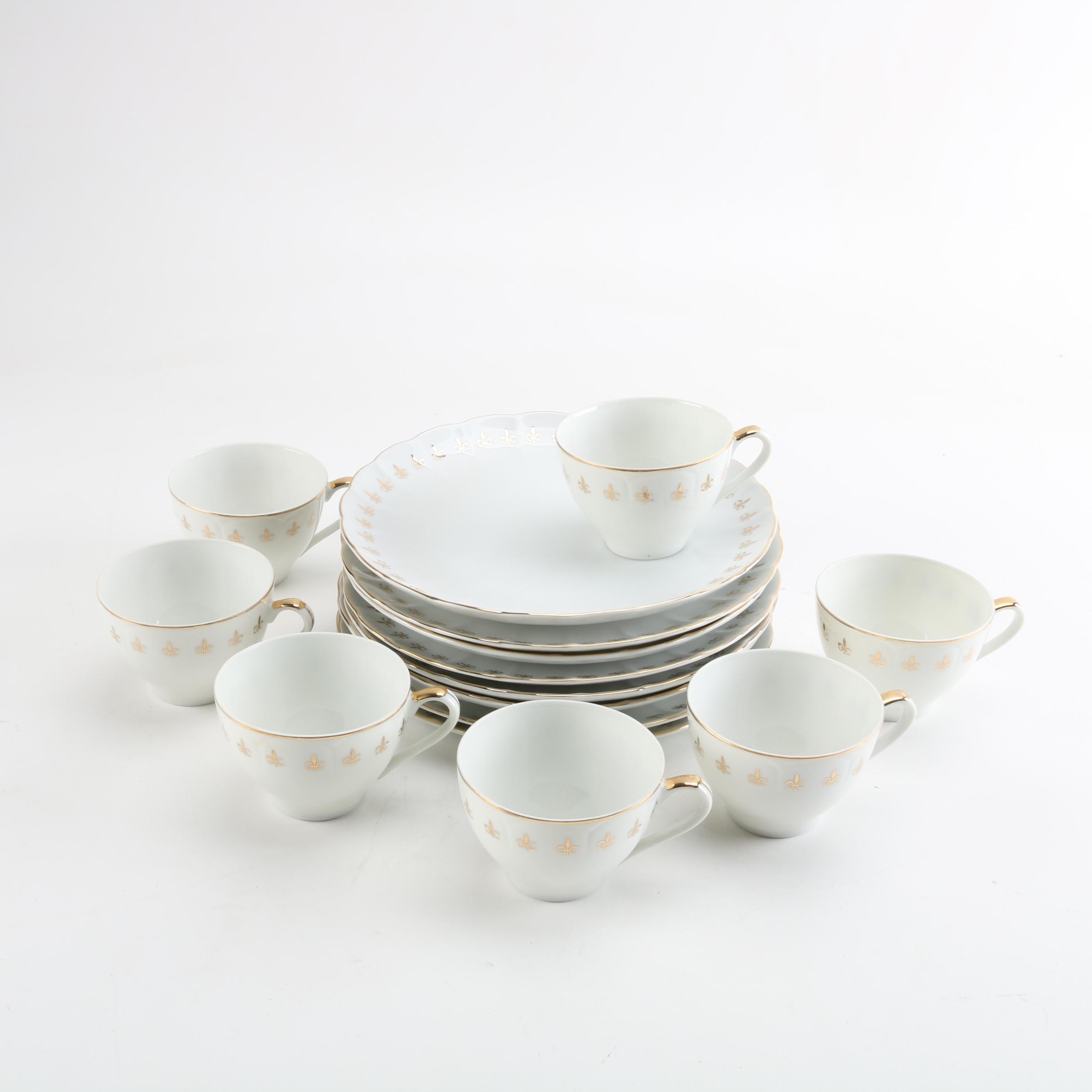 Vintage JSC  Fleur De Lis  Porcelain Snack Plate Set ... & Vintage JSC