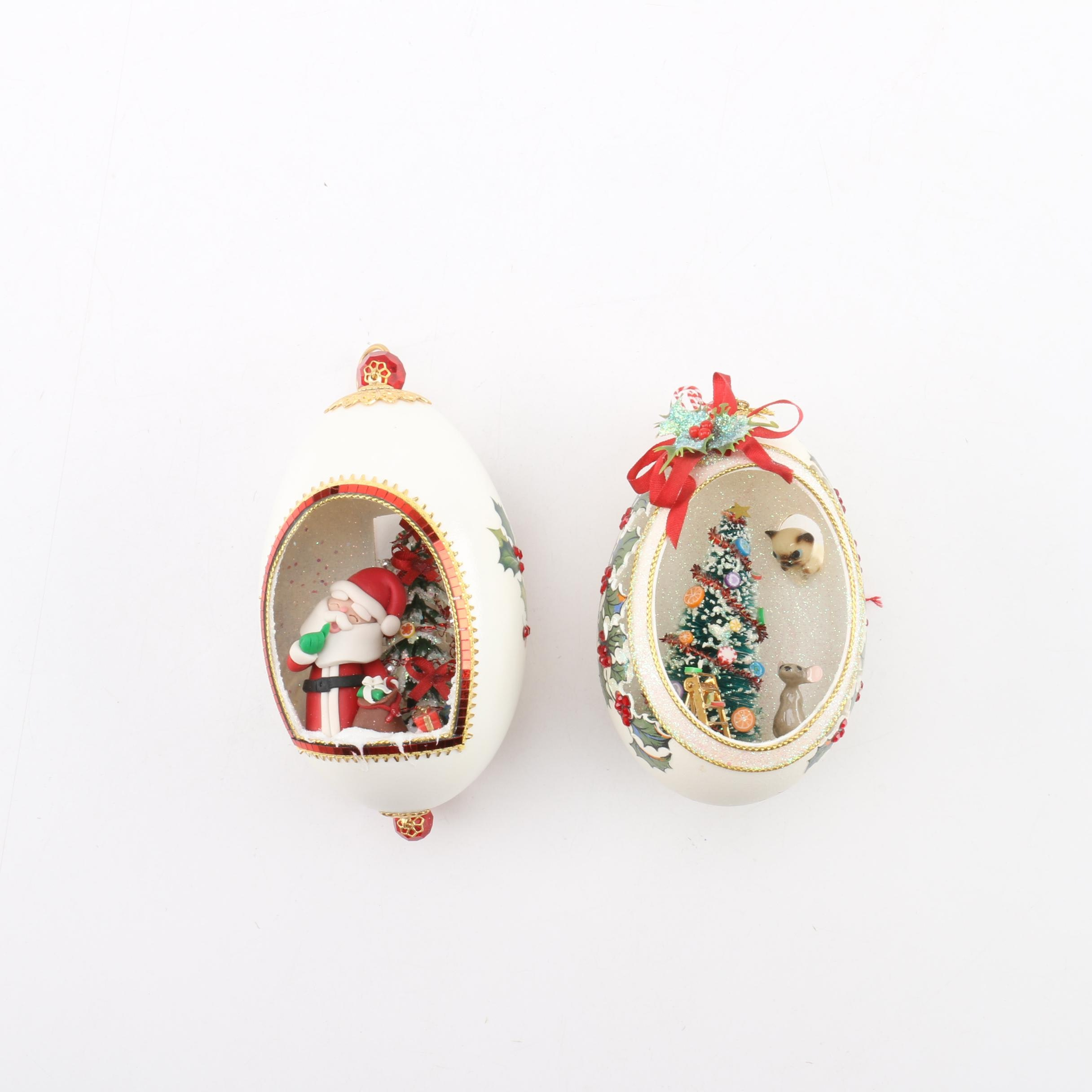 Signed Hand-Decorated Goose Egg Ornaments