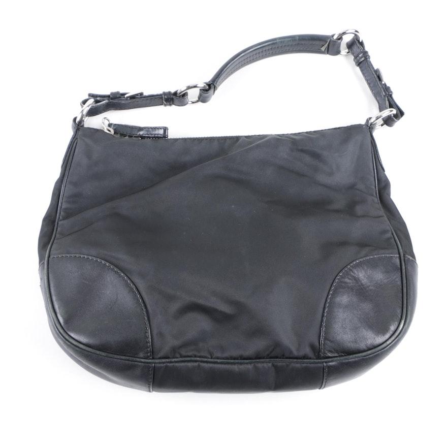 Prada Black Nylon and Leather Hobo Bag   EBTH 0bc0e8182c83e