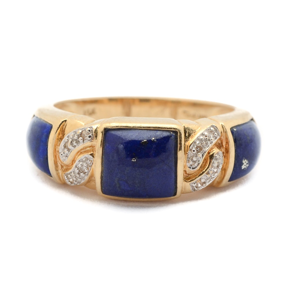 14K Yellow Gold Lapis and Diamond Ring