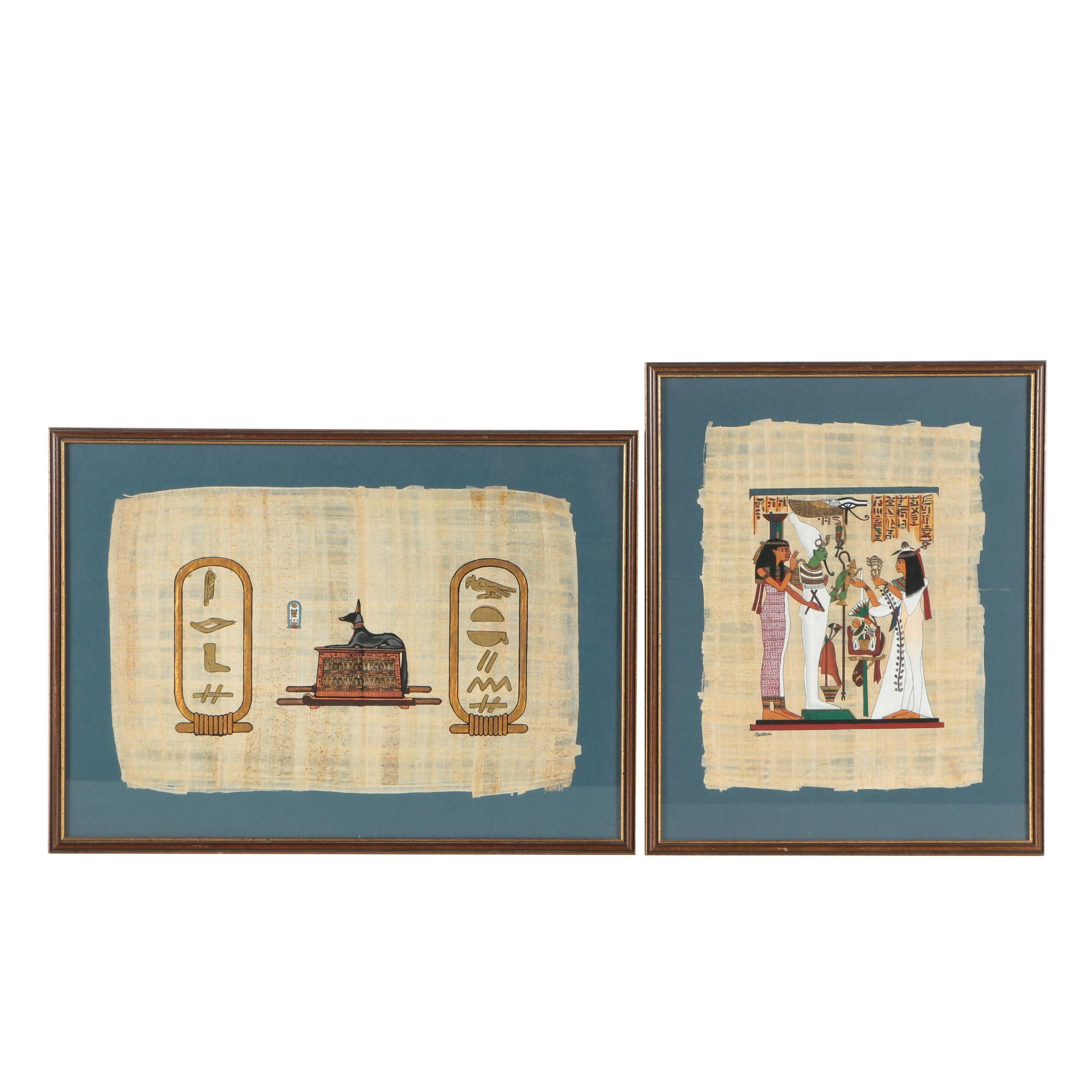Ancient Egyptian Gouache and Ink Paintings