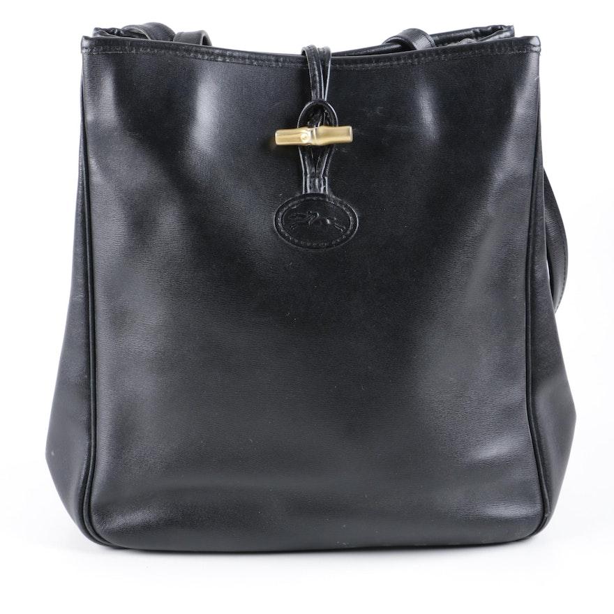 99abe9ed0ba Vintage Longchamp Black Leather Shoulder Bag   EBTH