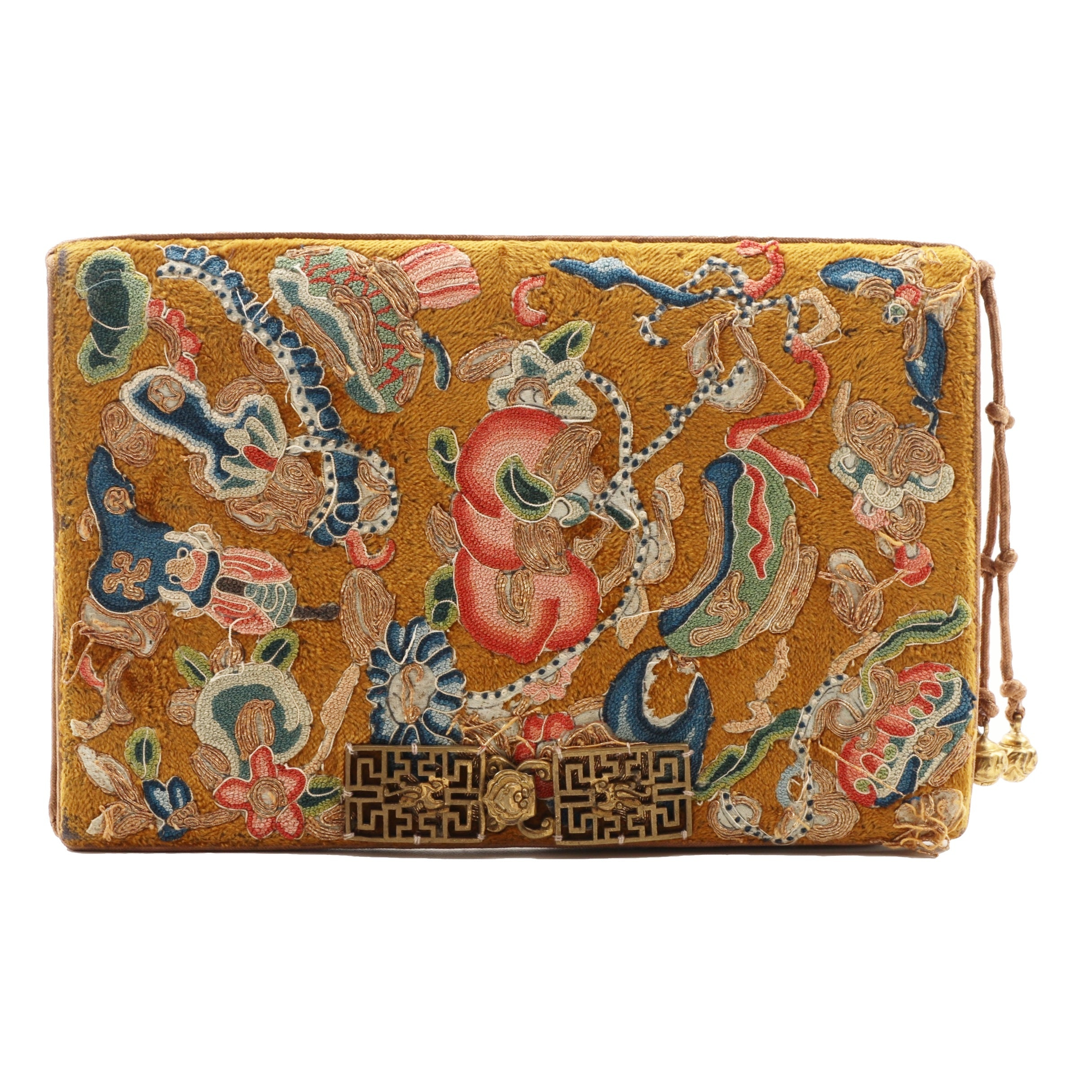 Circa 1920 Chinese Silk Forbidden Stitch Clutch Handbag