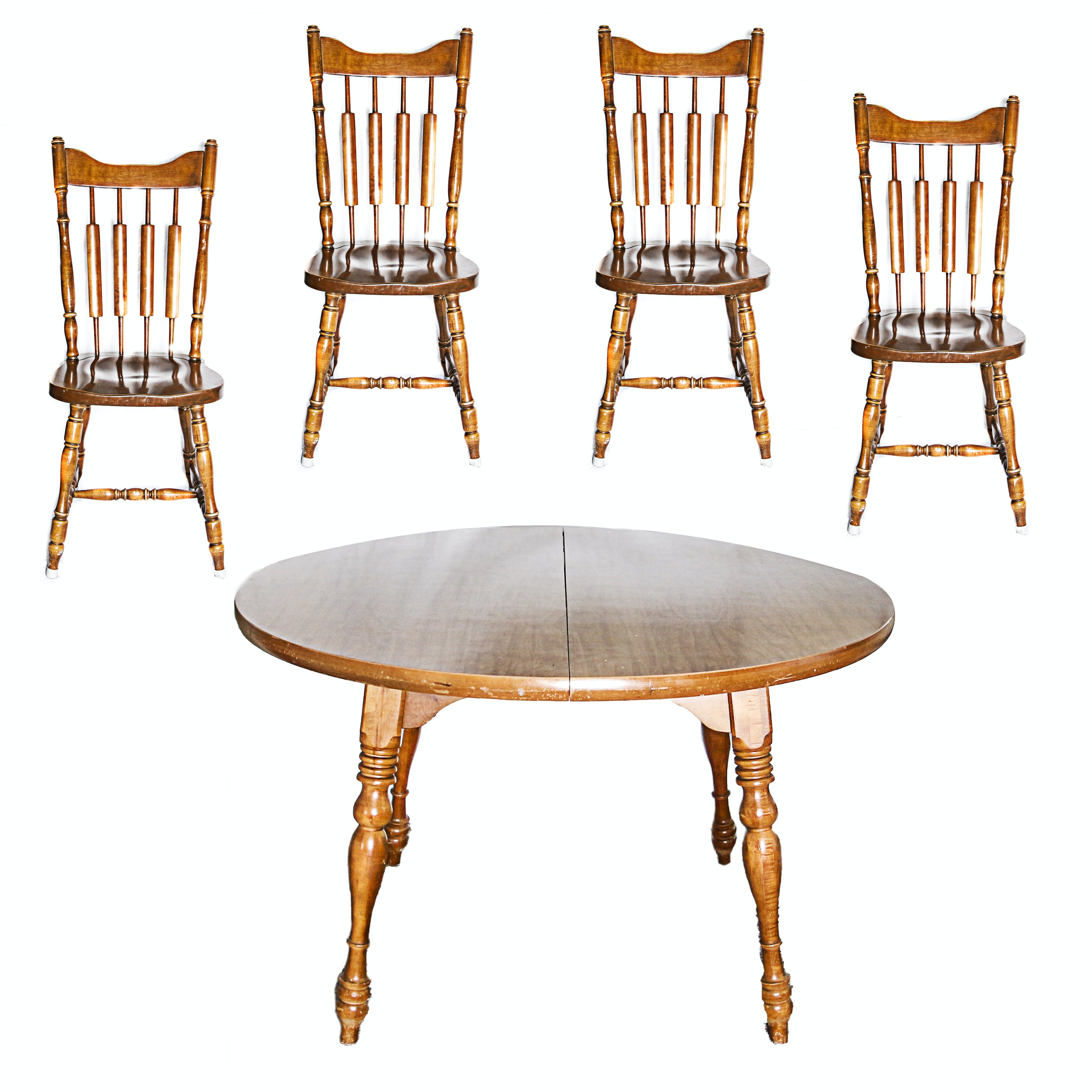 Vintage Colonial Style Dining Table with Side Chairs by Richardson Brothers