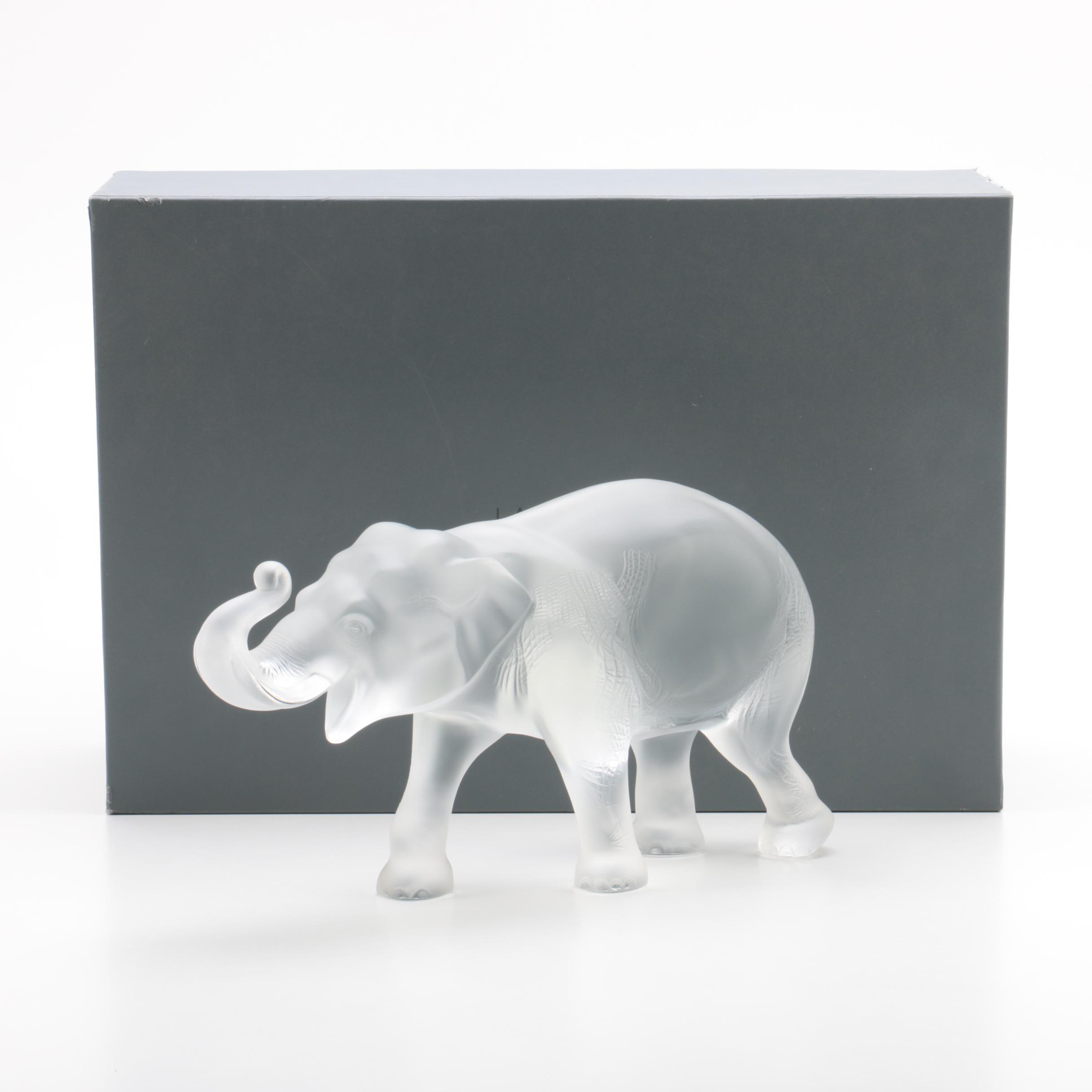 Lalique Crystal Elephant Figurine