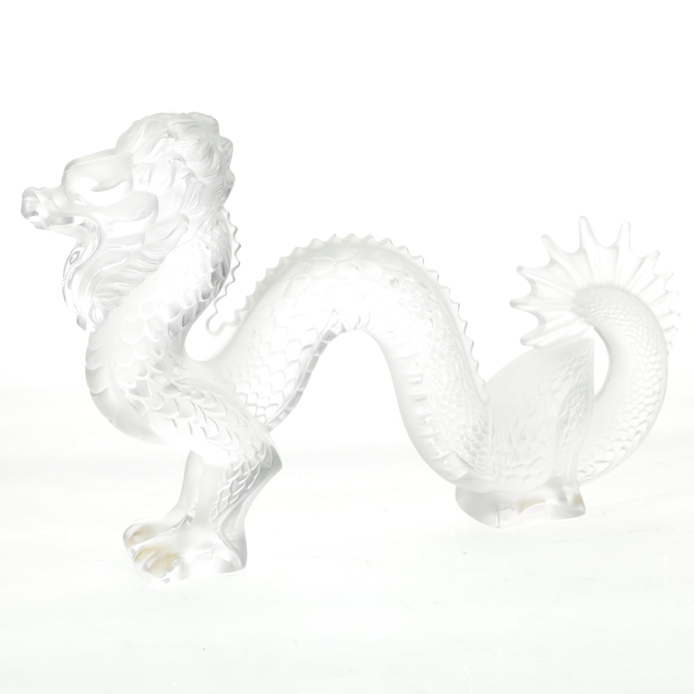 Lalique Crystal Chinese Dragon Figurine