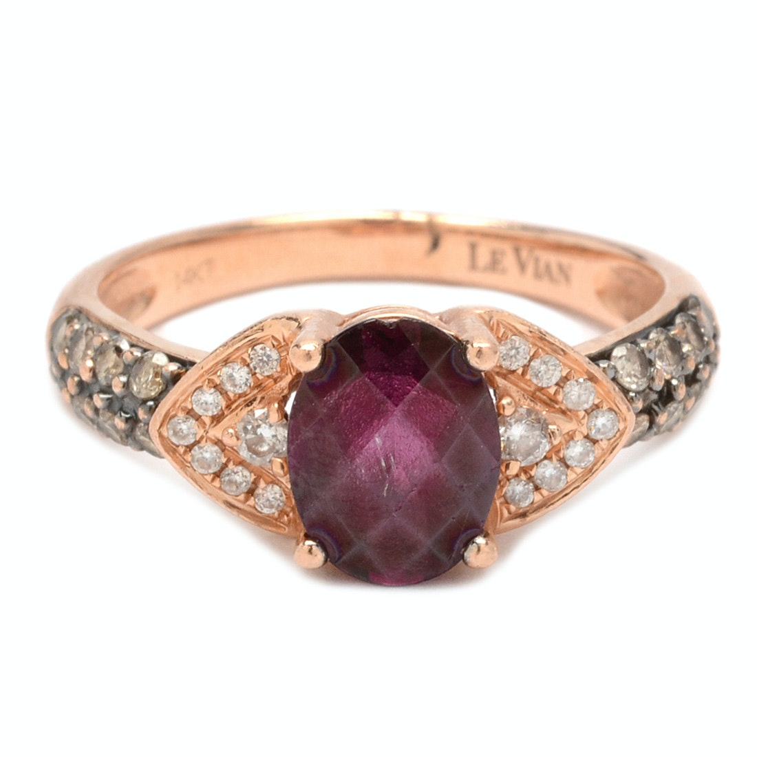 LeVian 14K Rose Gold Rhodolite Garnet and Diamond Ring
