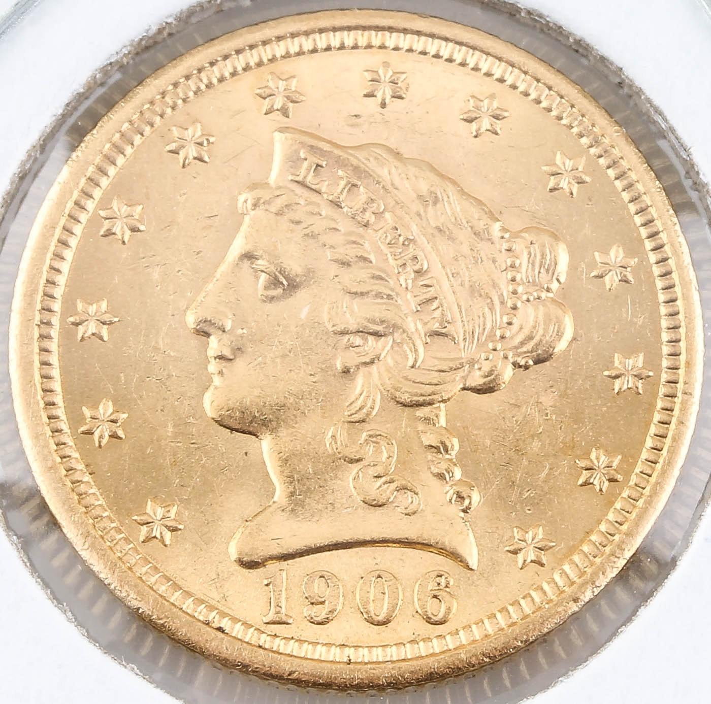 1906 Liberty Head $2 1/2 Gold Coin