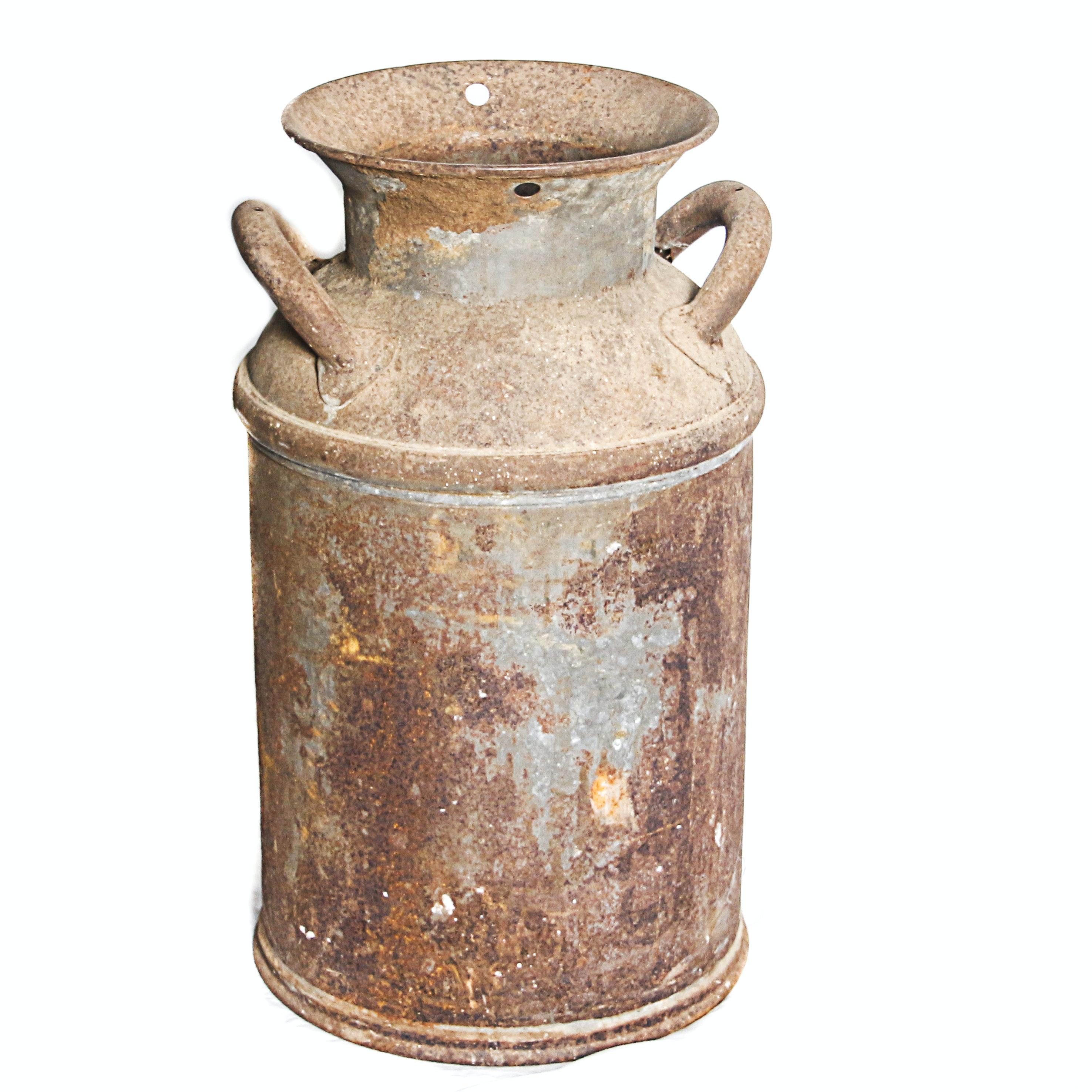 Vintage Distressed Metal Milk Can