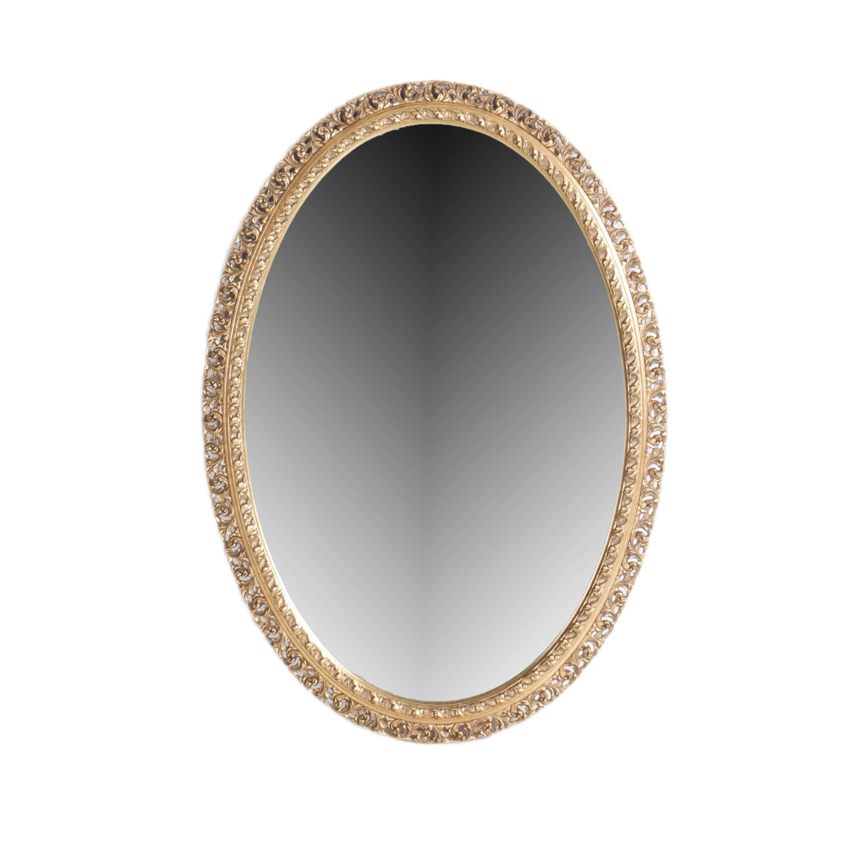 Gold Tone Oval Wood Framed Wall Mirror