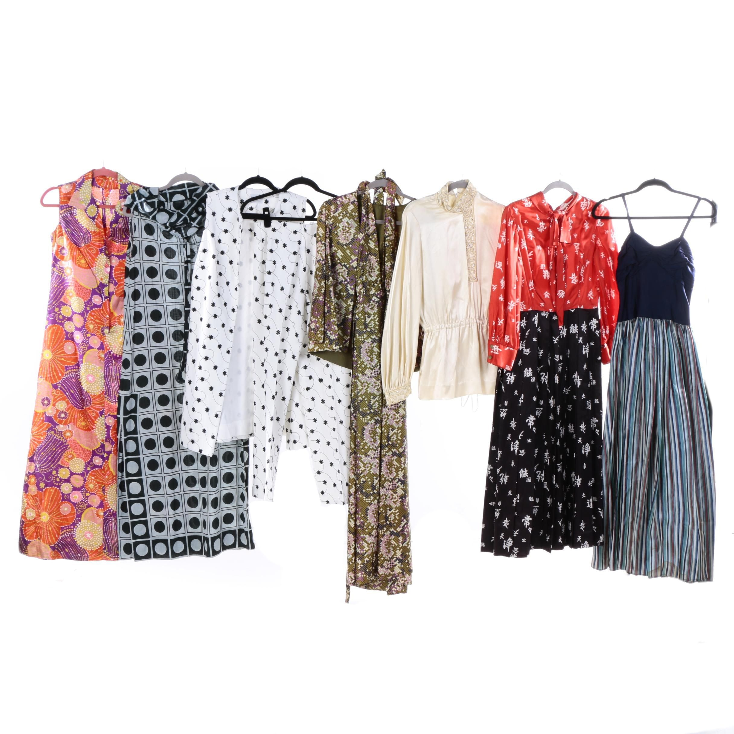 Circa 1970s Vintage Print Maxi Dresses and Pant Ensemble Including S. Eisenberg