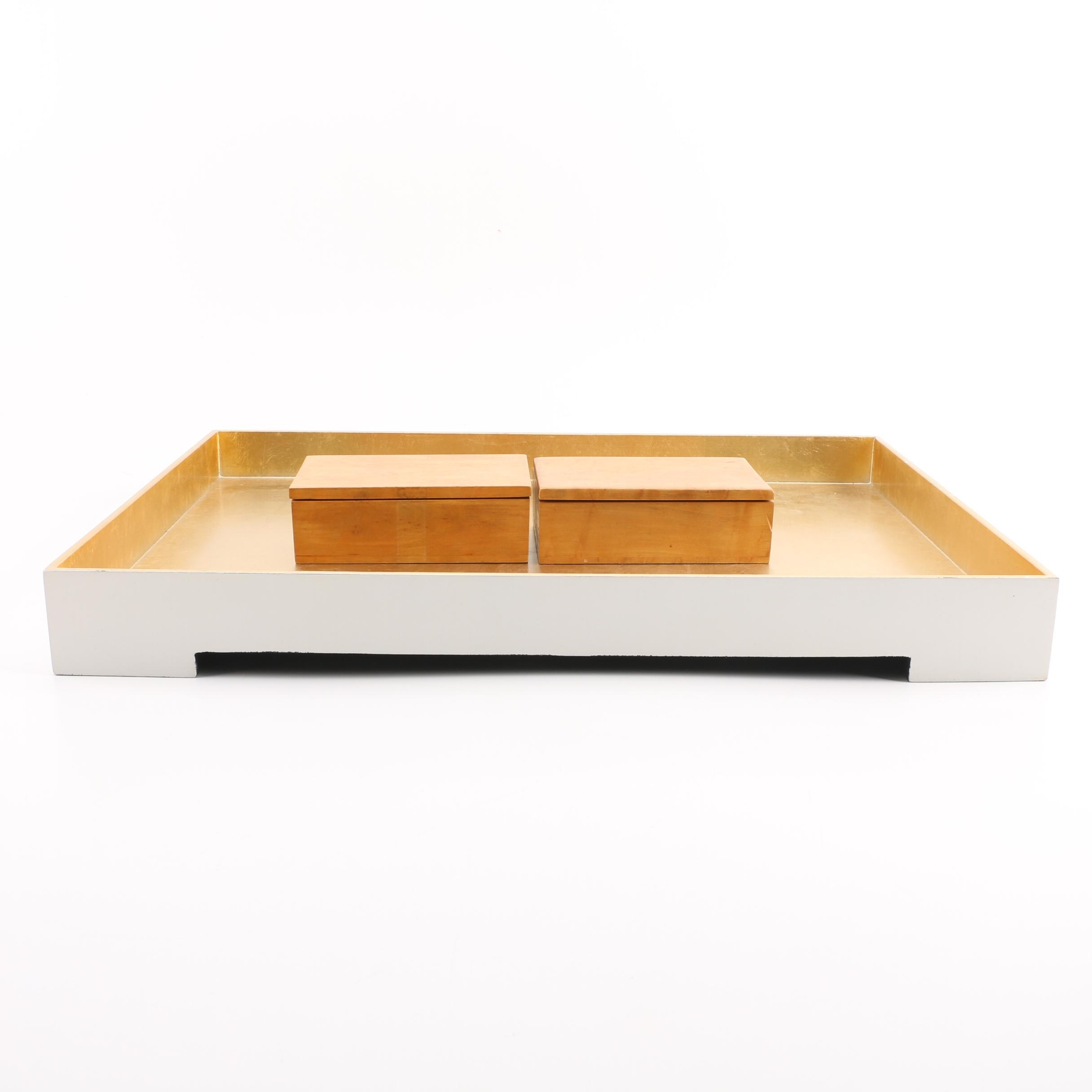 "Surya ""Kalista"" Desk Tray and Wood Lidded Boxes"
