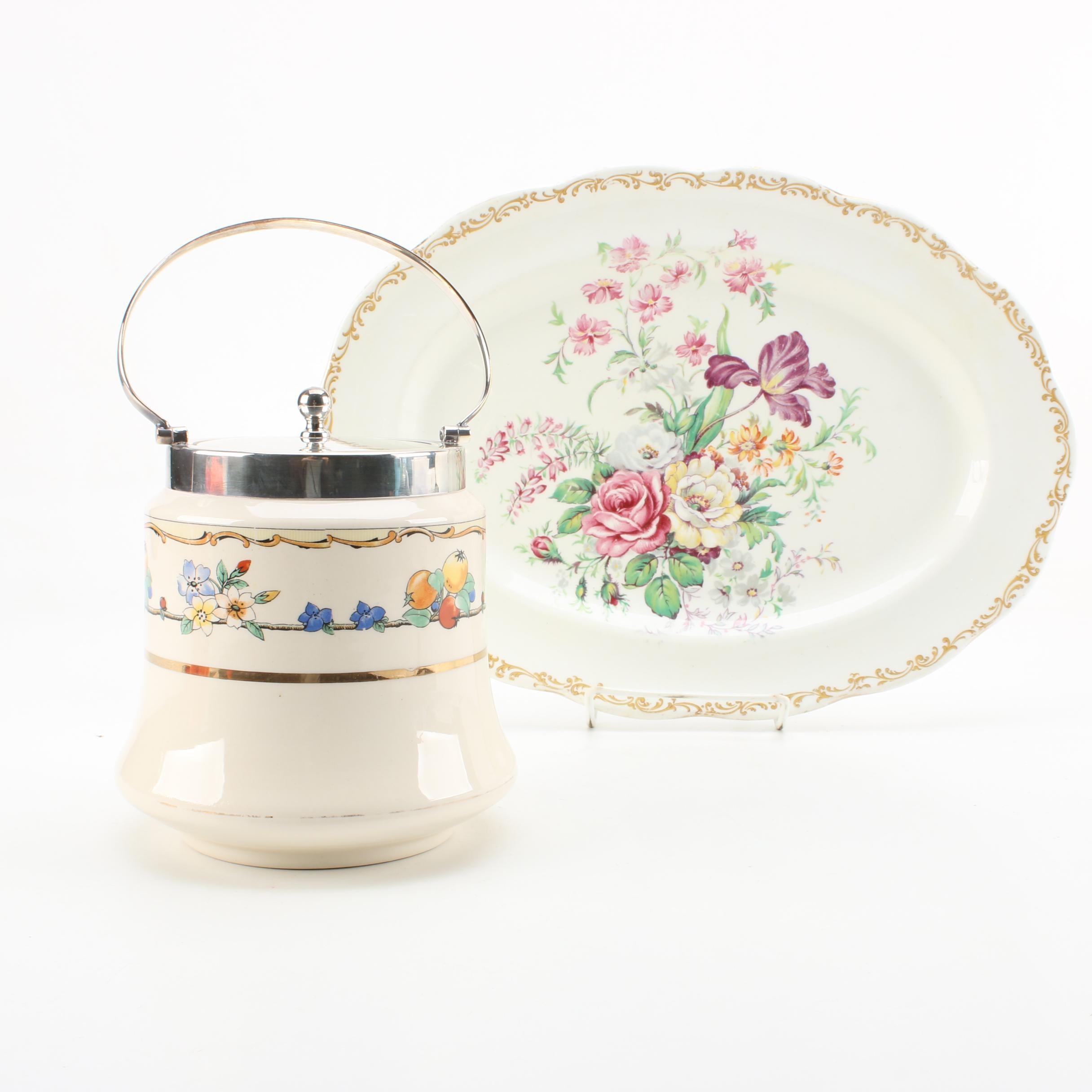 "Royal Albert ""Nosegay"" Platter and Hampton Ivory Biscuit Barrel"