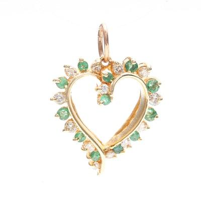 Vintage designer pendants online vintage pendant auction in 14k yellow gold diamond and emerald pendant aloadofball Image collections