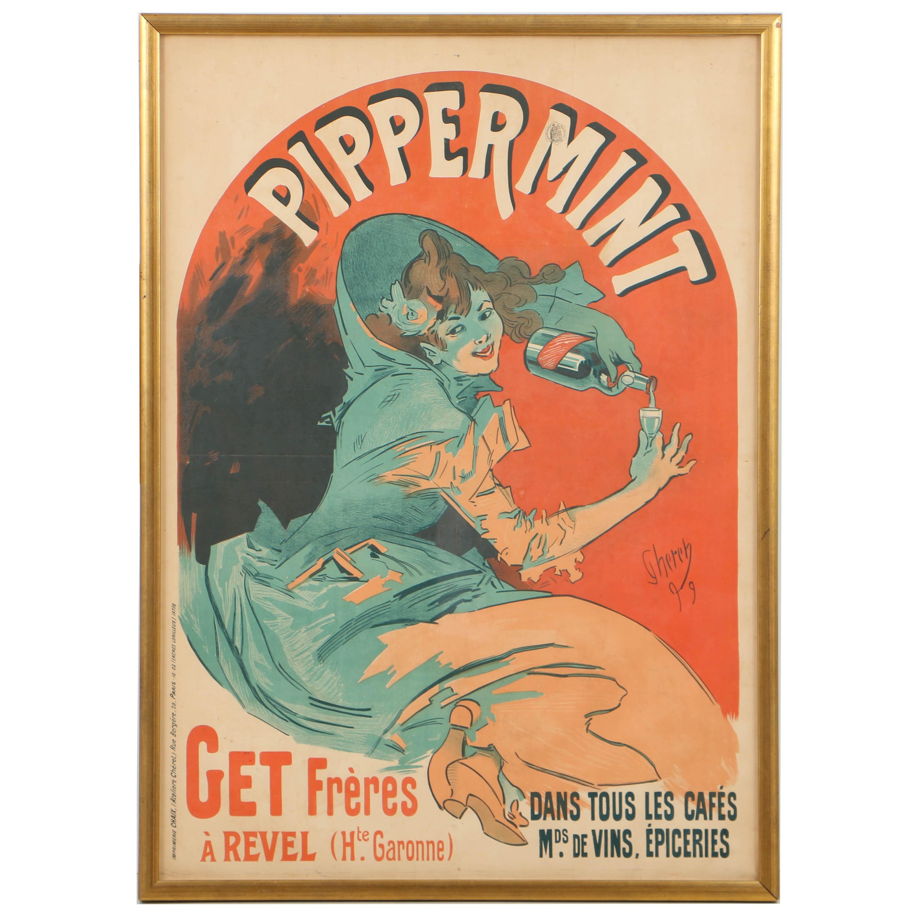 """After Jules Chéret Antique Color Lithograph Poster """"Pippermint"""""""
