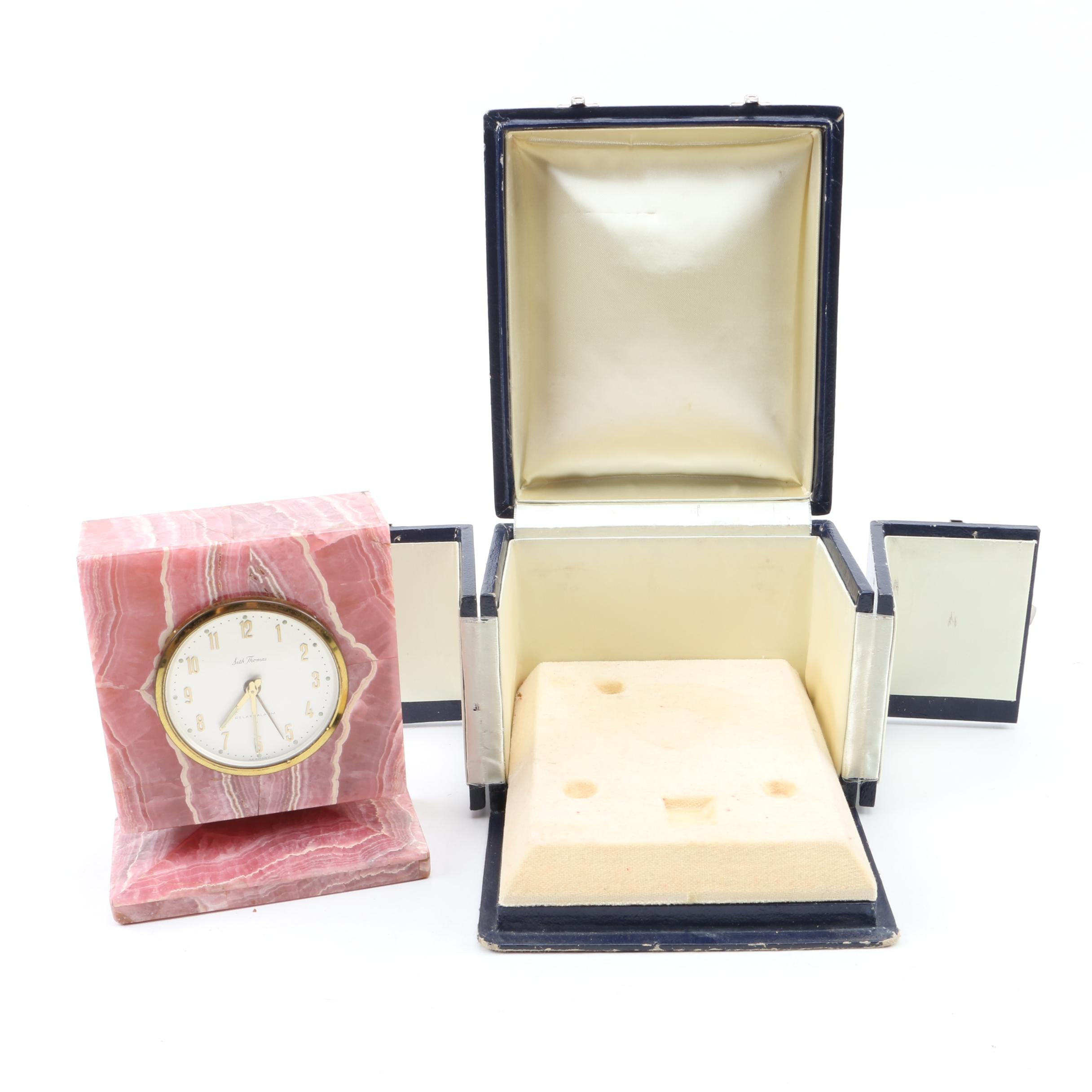 Seth Thomas Pink Stone Alarm Clock in A Wooden Box