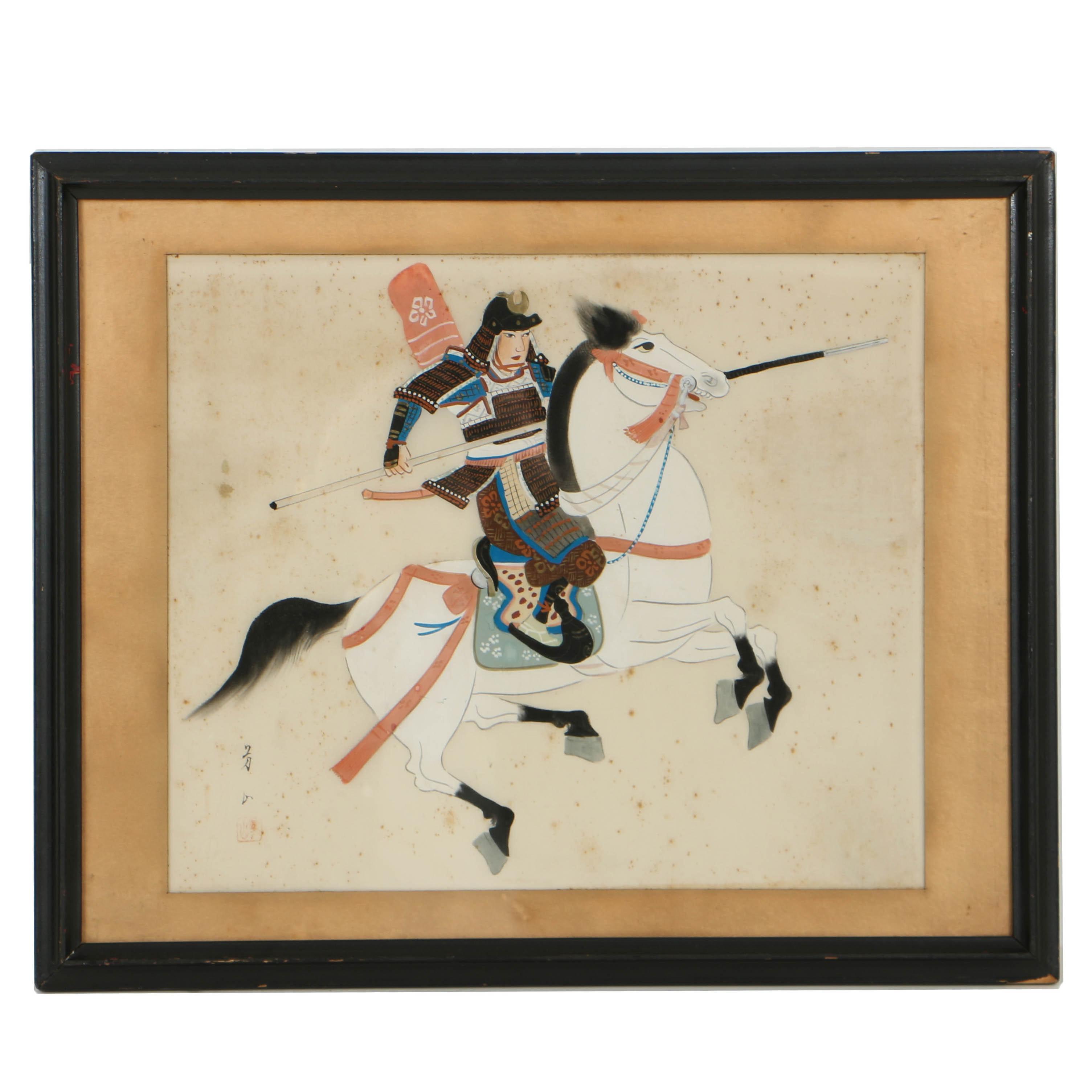Japanese Gouache Painting of Samurai on Horseback