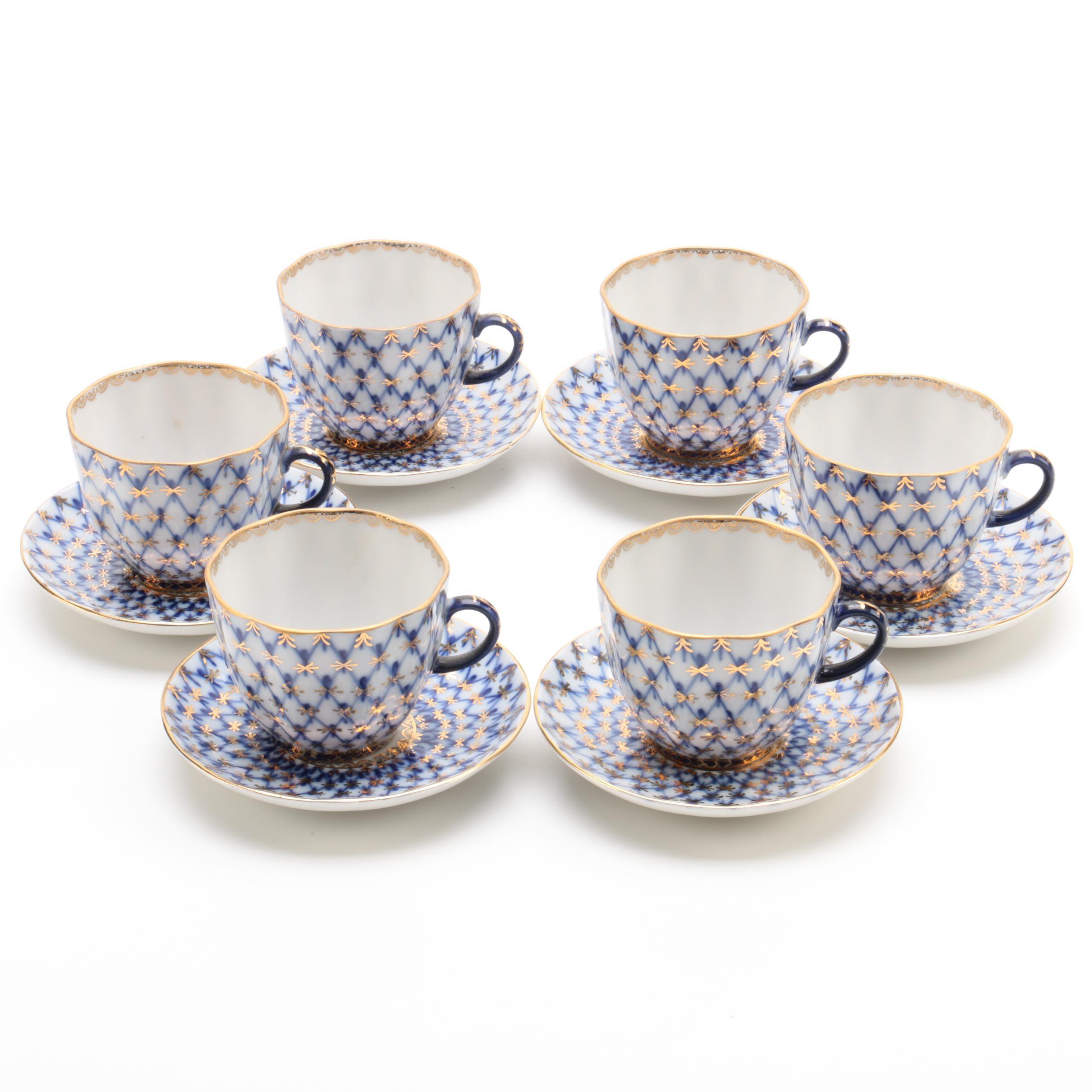"""Vintage Lomonosov """"Cobalt Net"""" Porcelain Demitasse Cups and Saucers"""