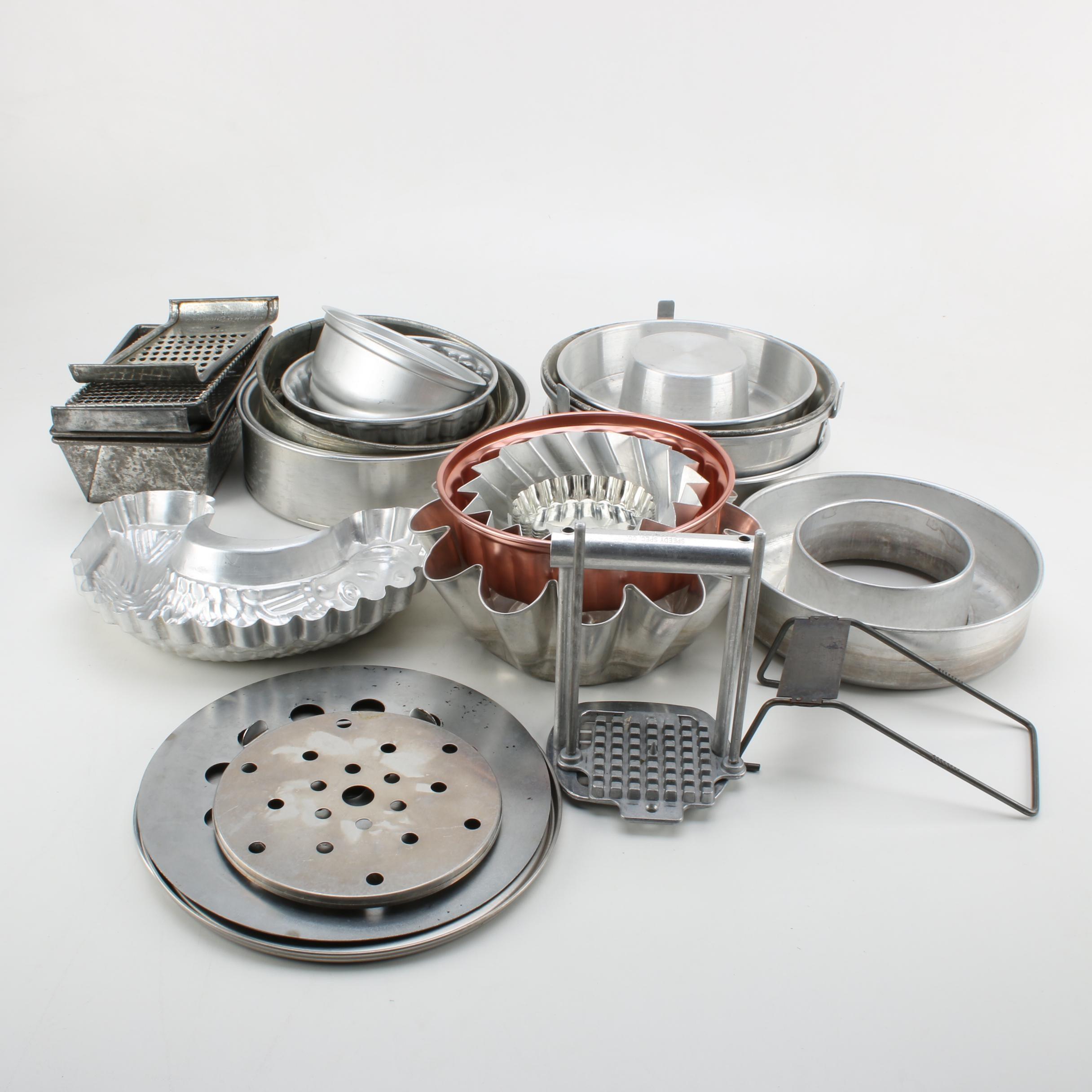 Metal Bakeware Including Molds, Bundt Pans and Cooking Utensils