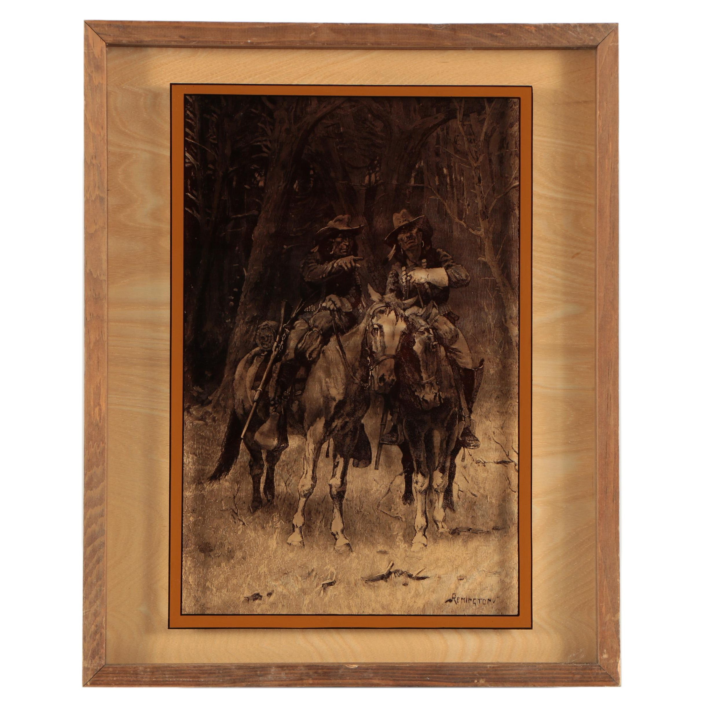 Lucid Lines 1974 Reproduction Print on Glass After Frederic Remington