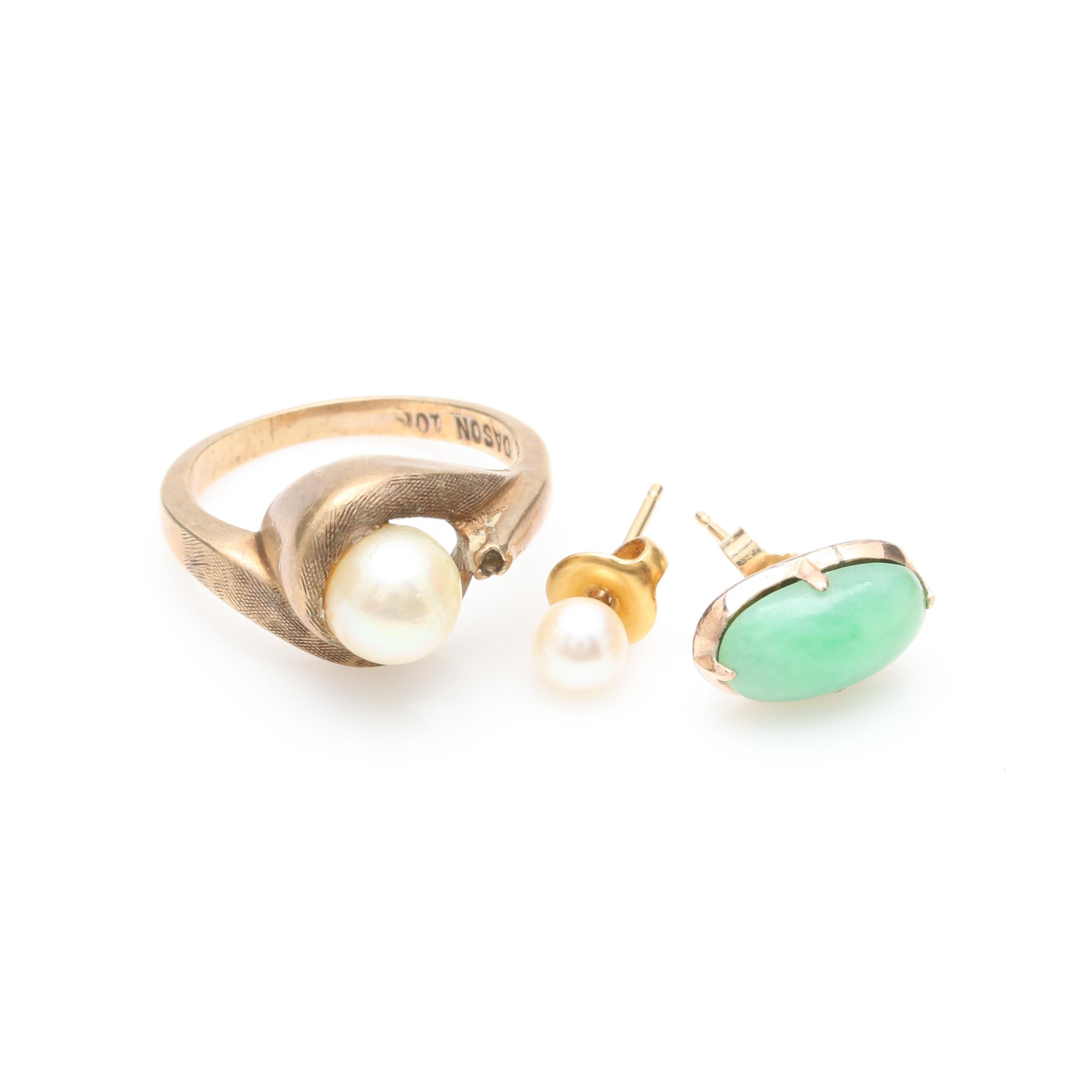10K and 14K Yellow Gold Cultured Pearl and Dyed Jadeite Earrings and Ring