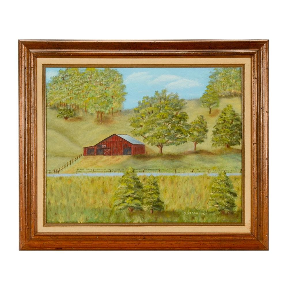 "Grace McDonough Original Oil Painting on Canvas ""Kentucky Barn"""