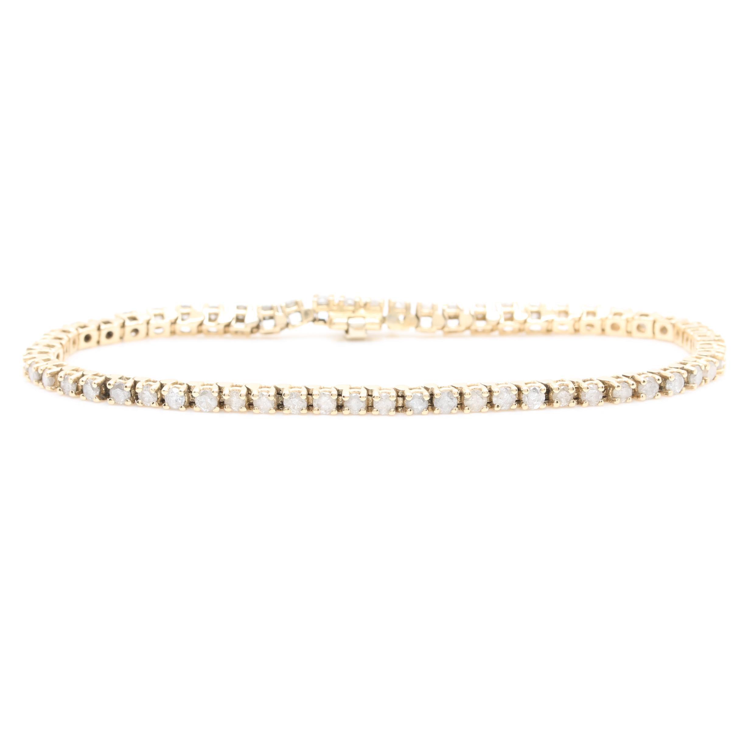 14K Yellow Gold 2.55 CTW Diamond Tennis Bracelet