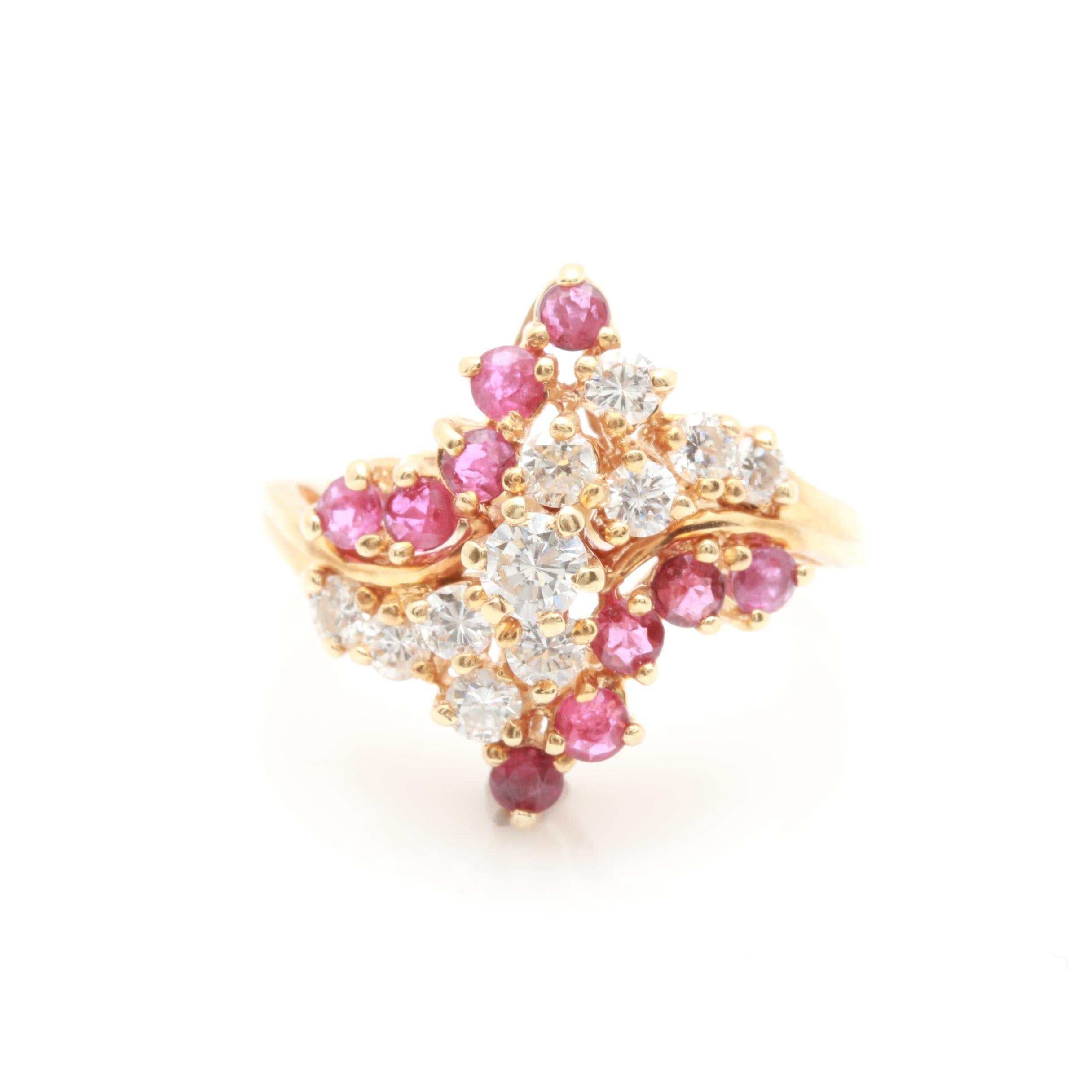14K Yellow Gold Diamond and Ruby Bypass Ring