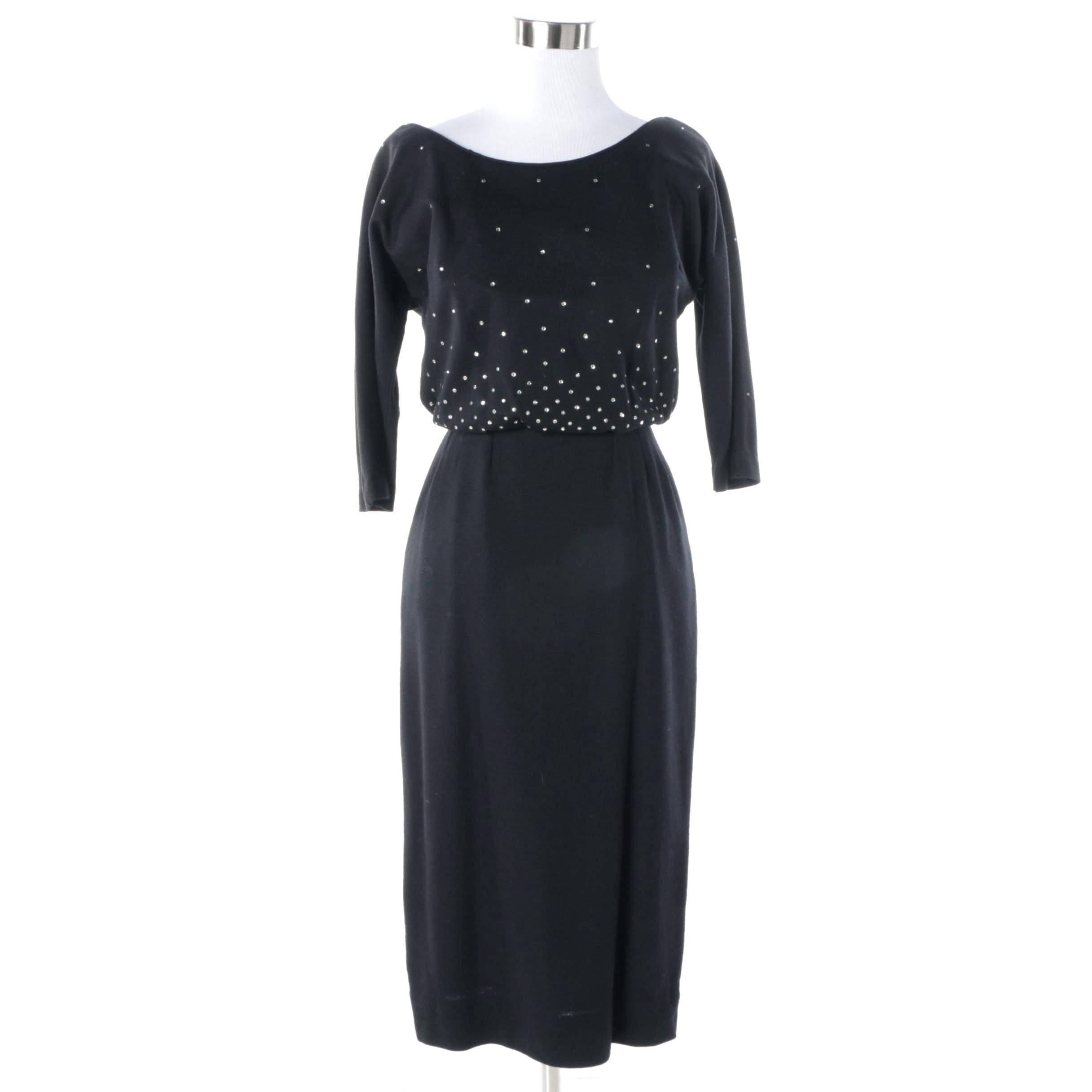 1960s Vintage Maggi Stover Rhinestone Embellished Black Wool Cocktail Dress