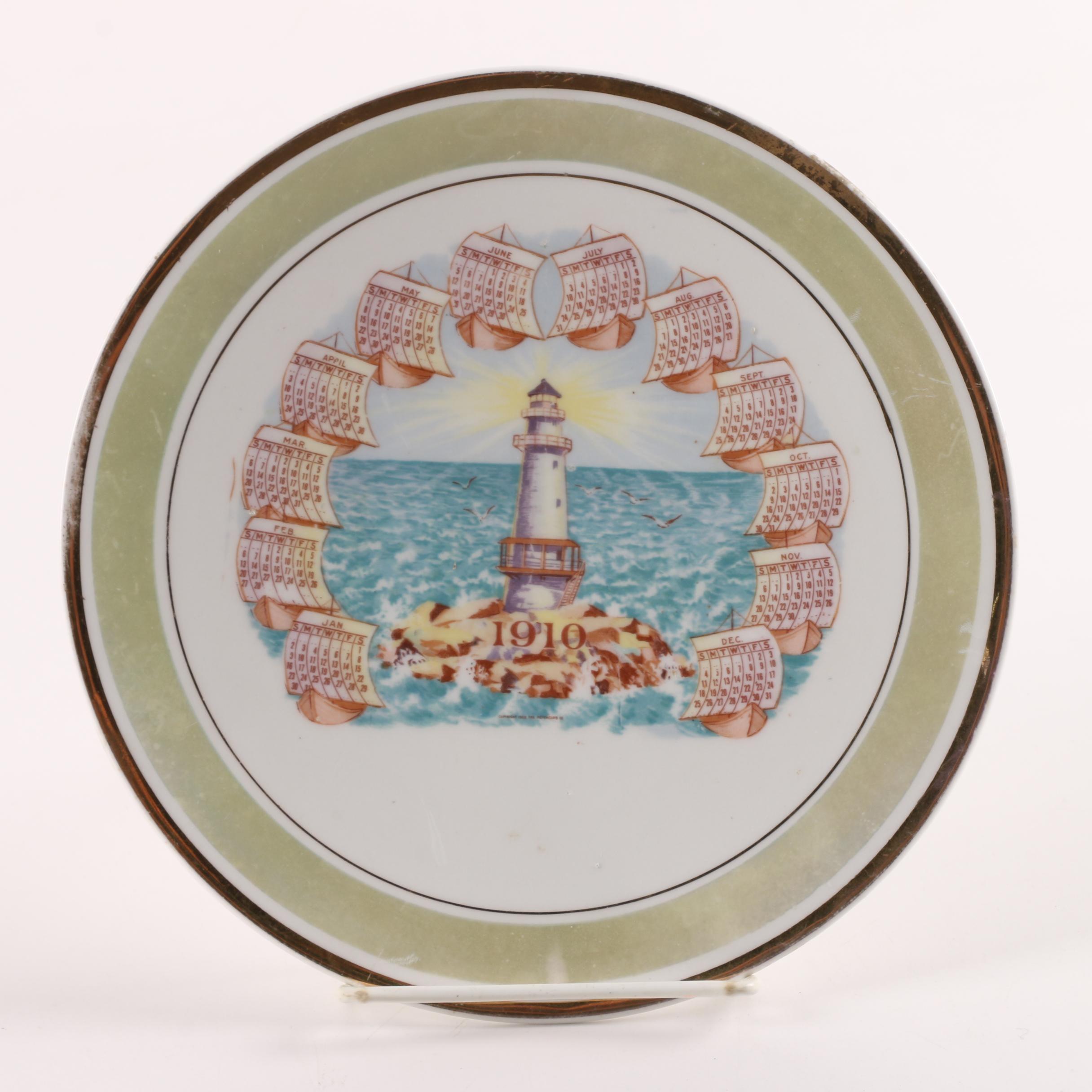 Antique Promotional Pope Gosser 1910 Calendar Plate with Lighthouse Design