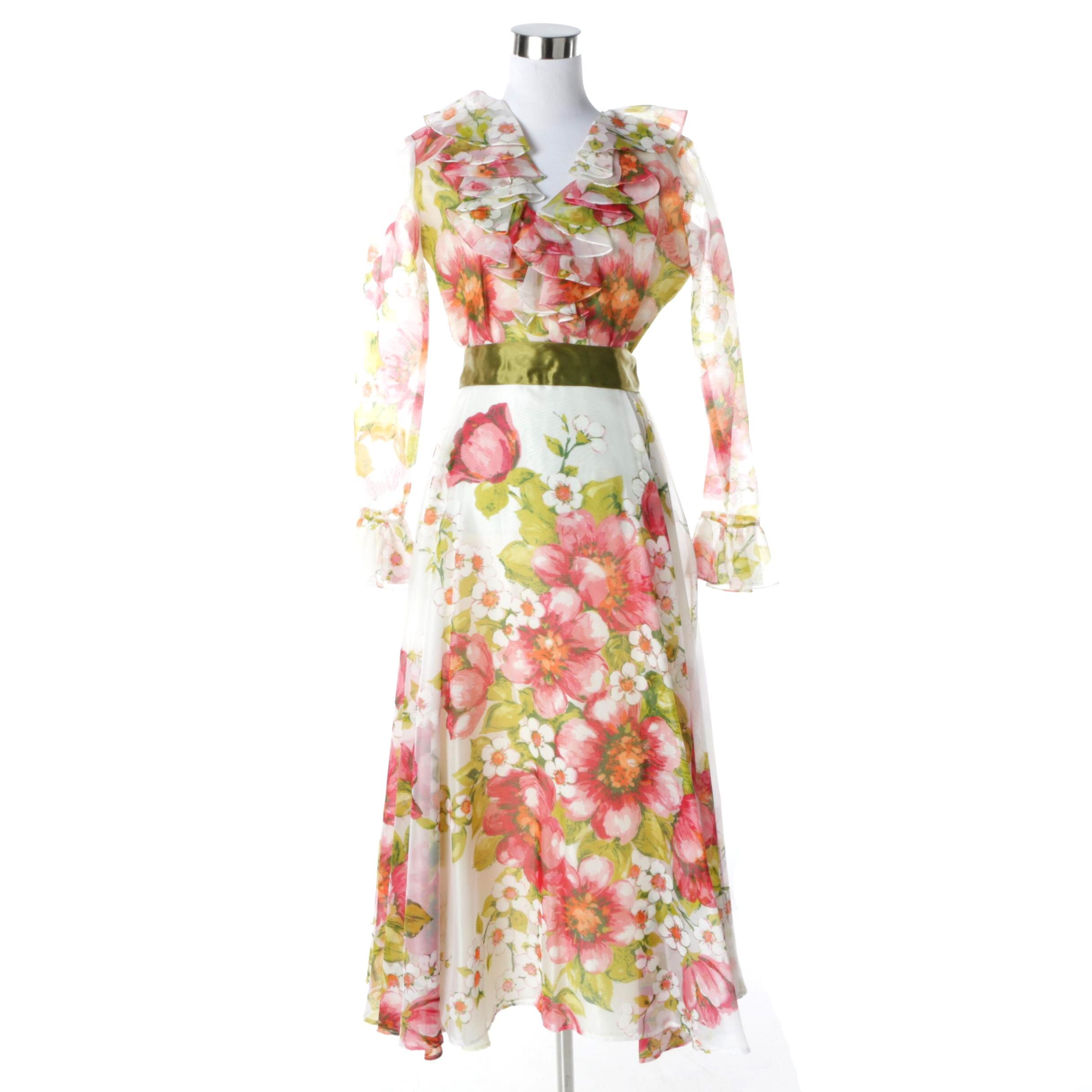 Circa 1970s Vintage Roger Milot for Fred Perlberg Floral Chiffon Dress