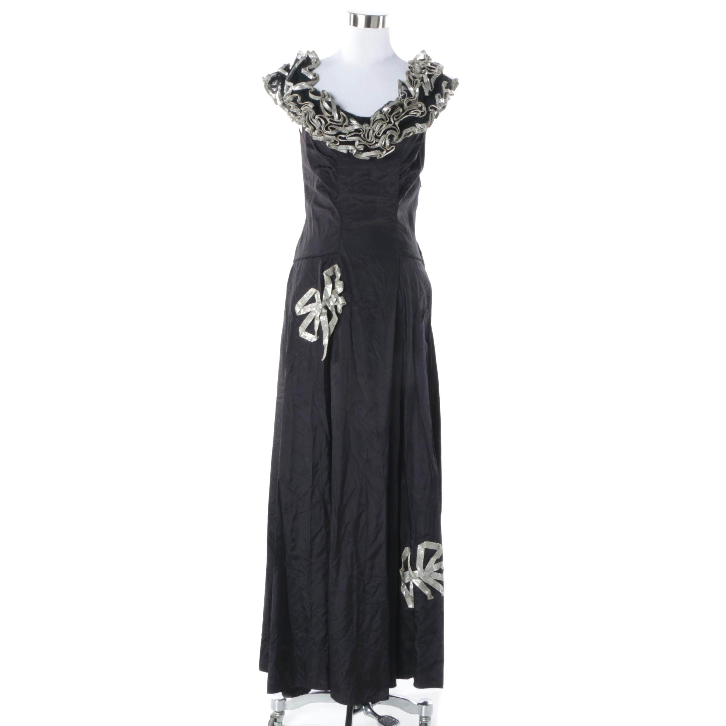 Circa 1940s Vintage Ann Nicks Black Faille Evening Dress