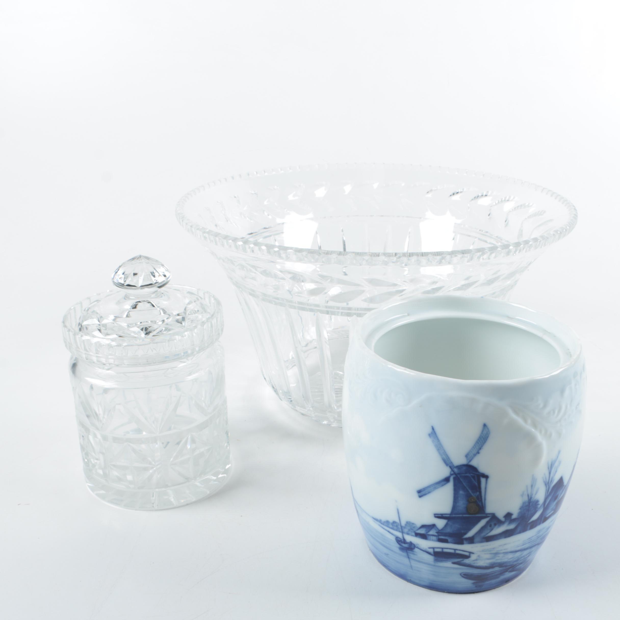 Crystal Biscuit Jar, Bowl, and Delft Porcelain Jar