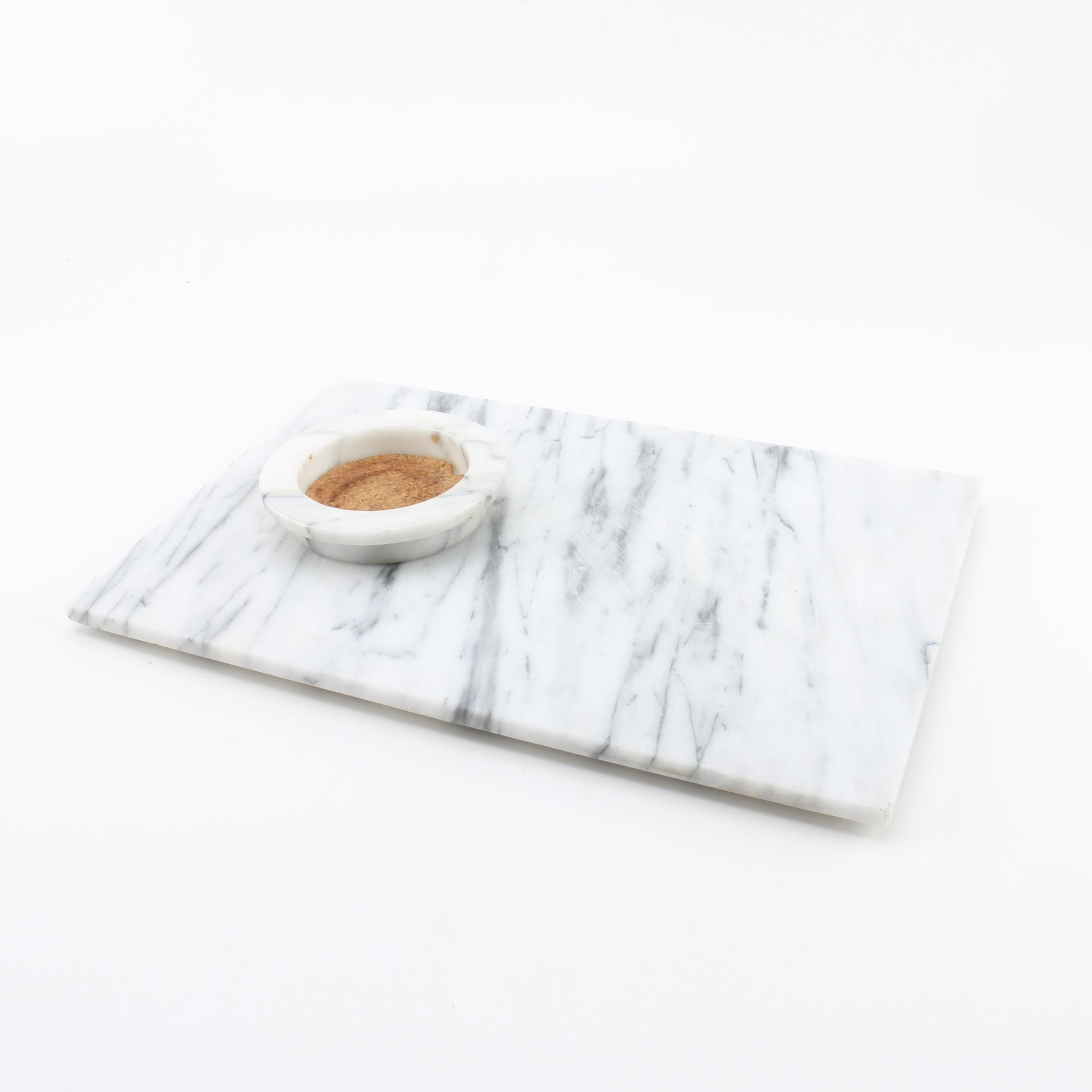 Hei Himark Gray Marble Cutting Board and Bottle Coaster