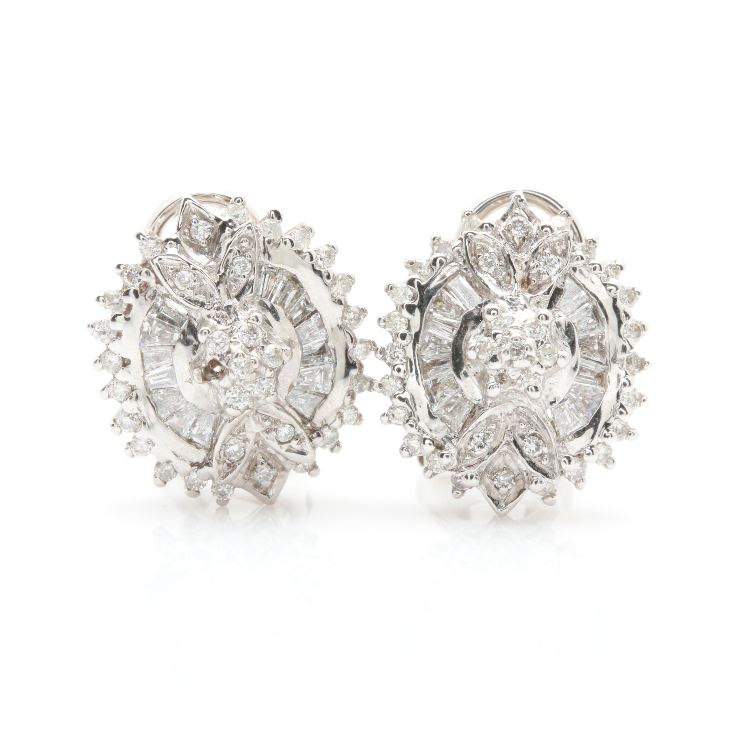 14K White Gold 1.01 CTW Diamond Earrings