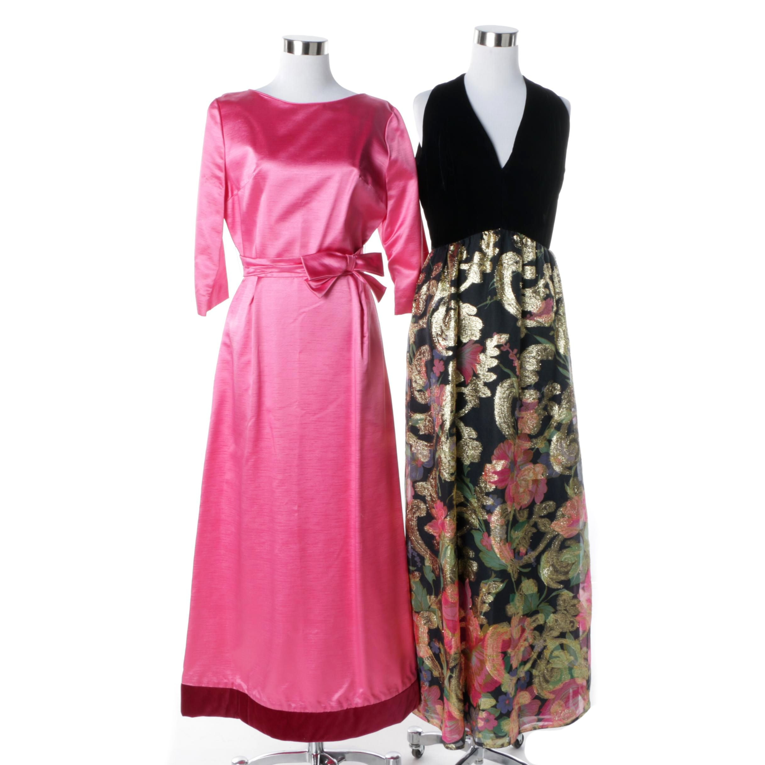 1960s Fuschia and Black Floral Evening Dresses with Velvet, Metallic Accents