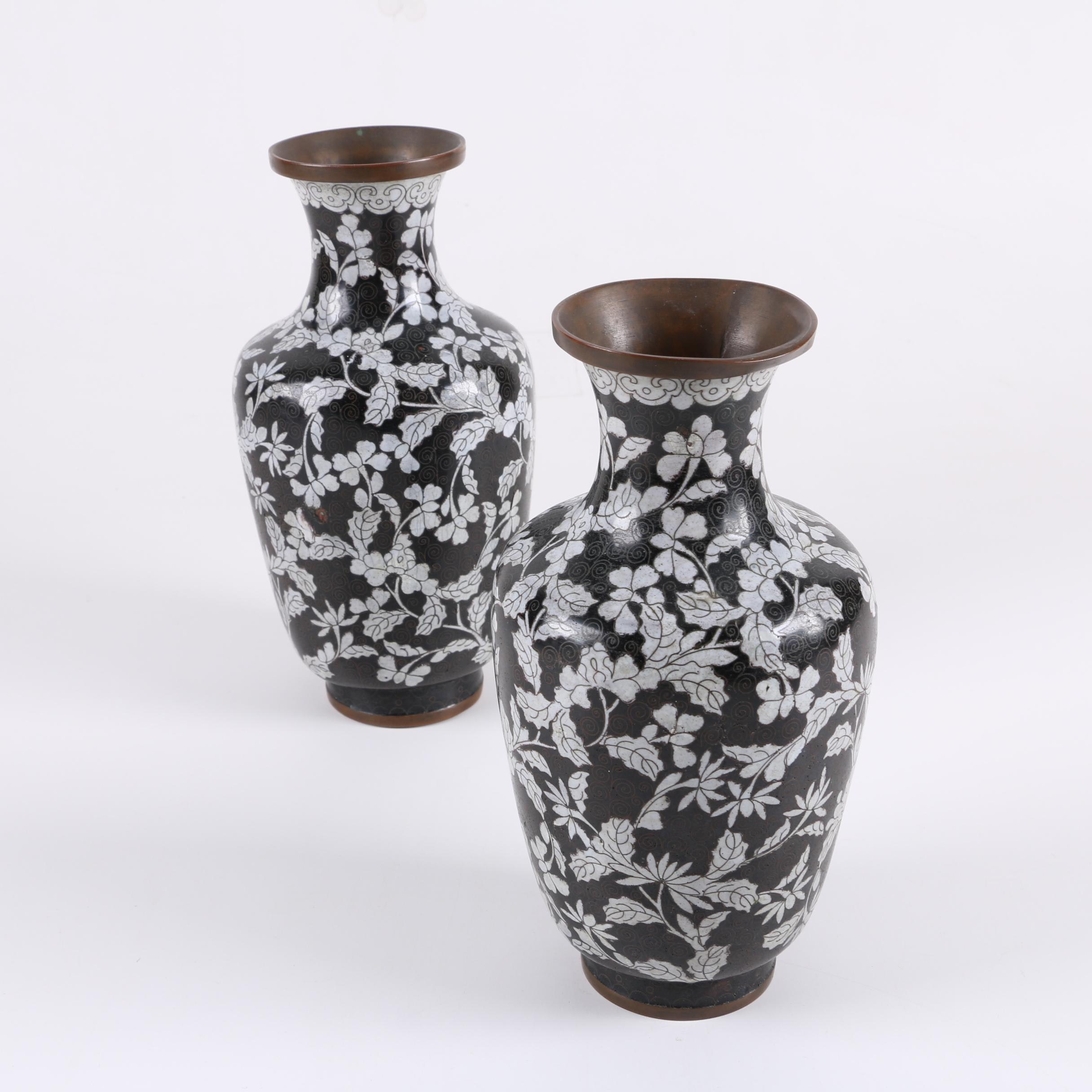 Chinese  Black and White Cloisonné Vases