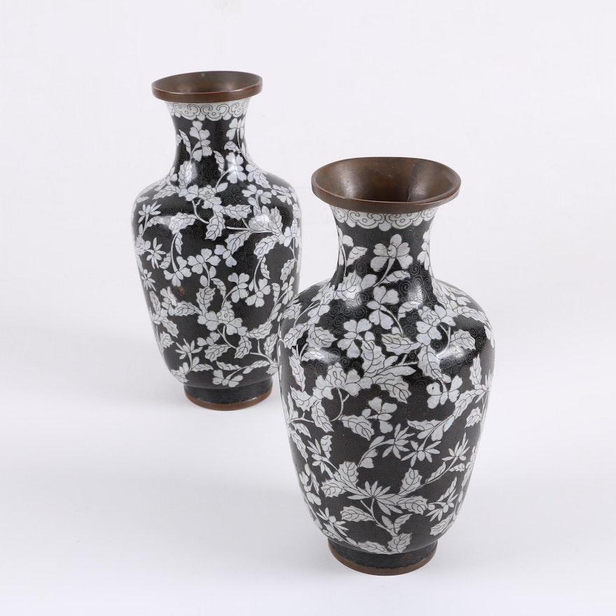 Chinese Black And White Cloisonn Vases Ebth