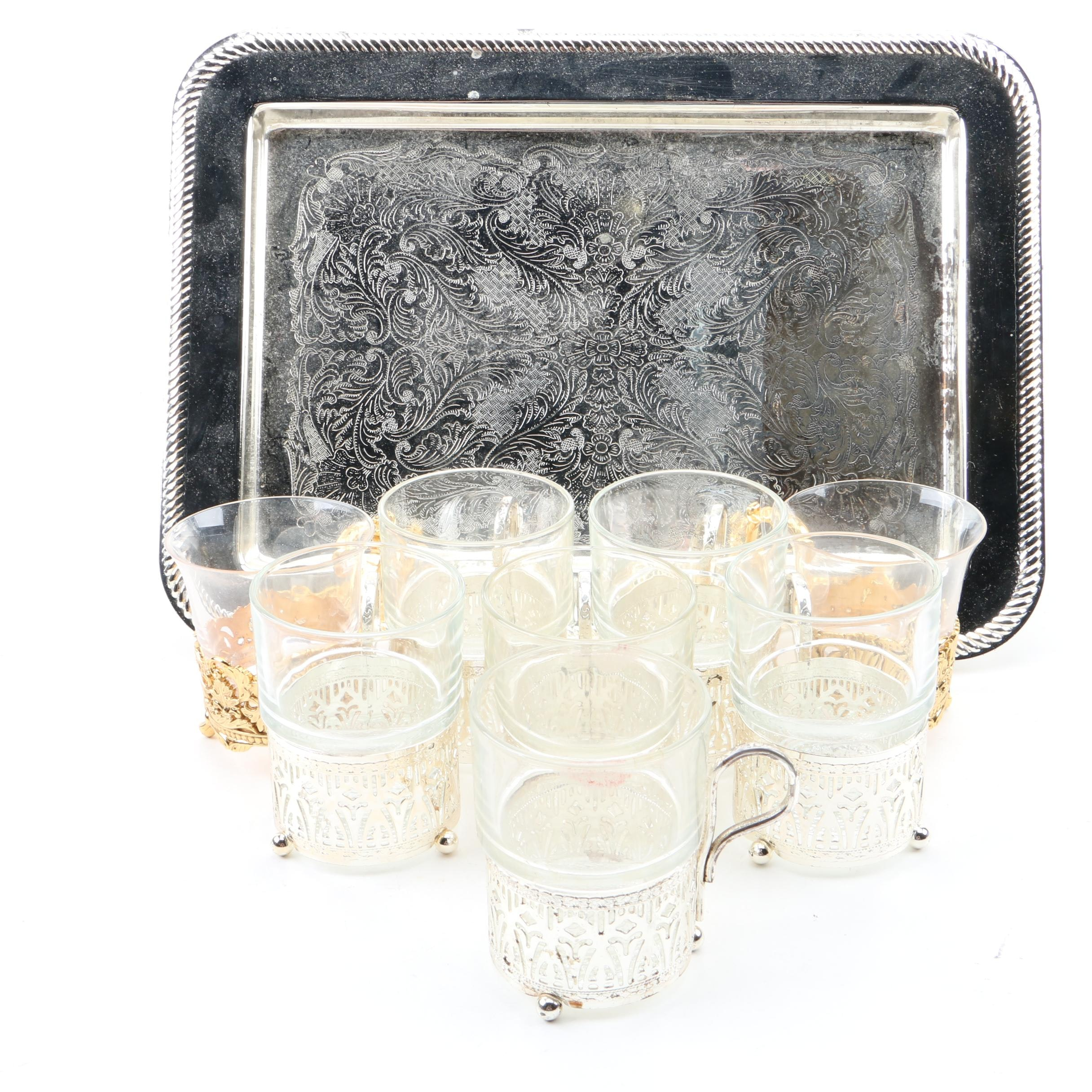 Silver Tray Serving Tray and Demitasse Cups with Glassware
