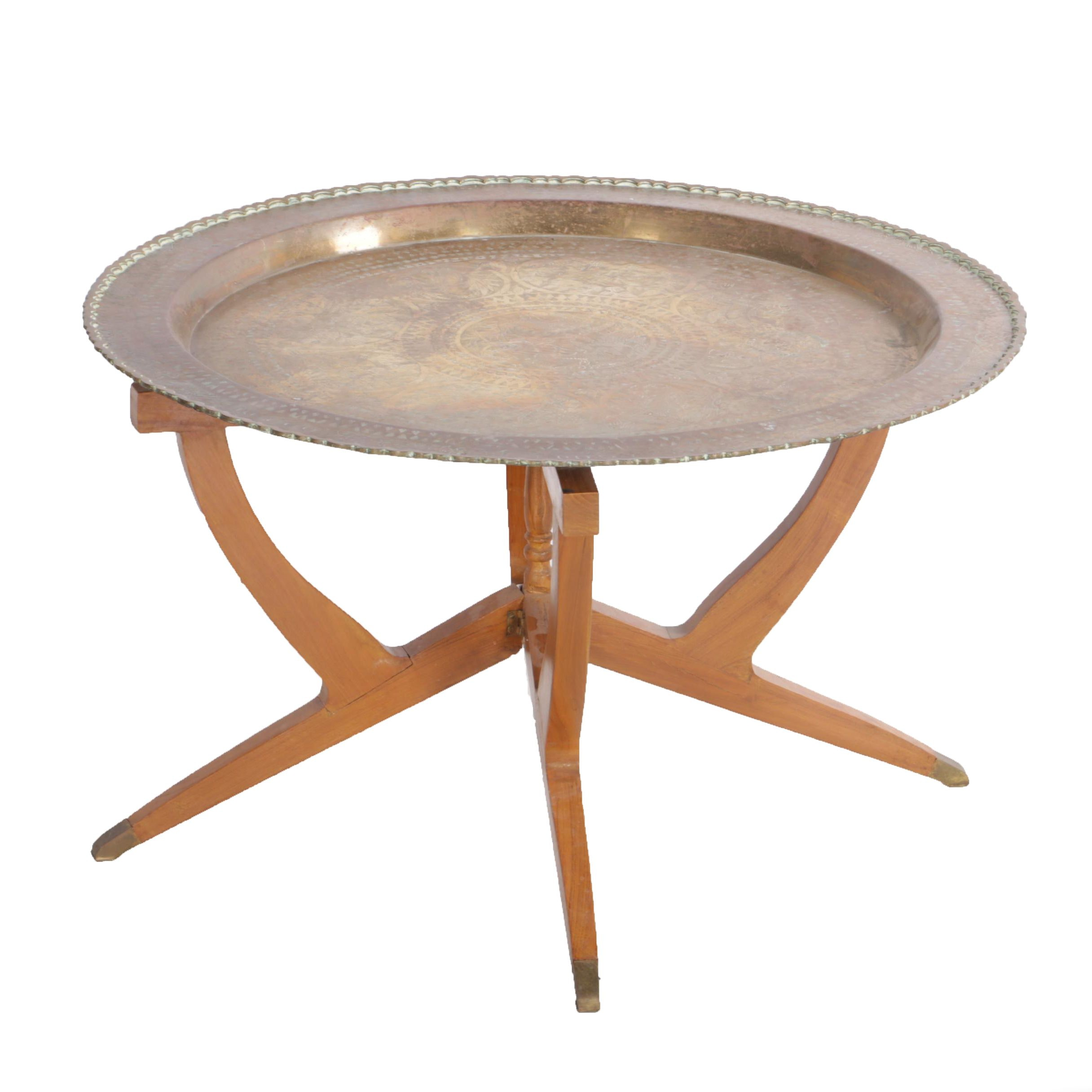 Vintage Brass Tray Table on Folding Wooden Stand