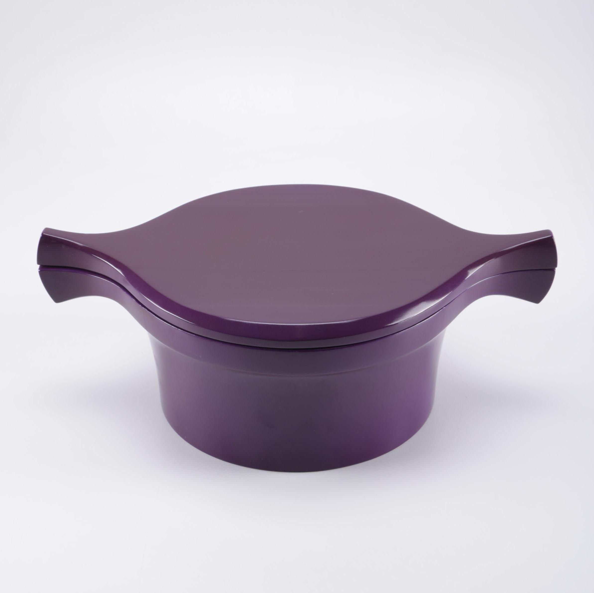Dansk Purple Wooden Serving Bowl With Lid