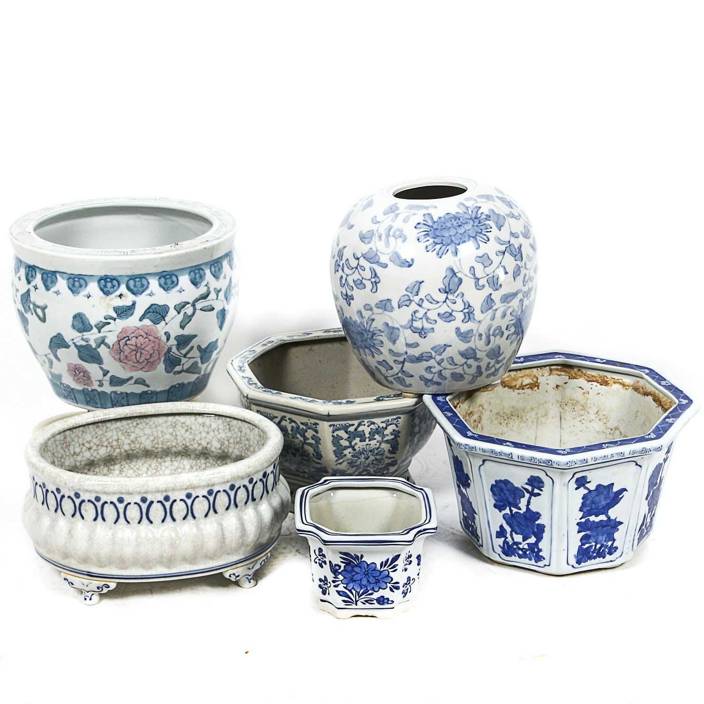 Blue and White Ceramic Planters